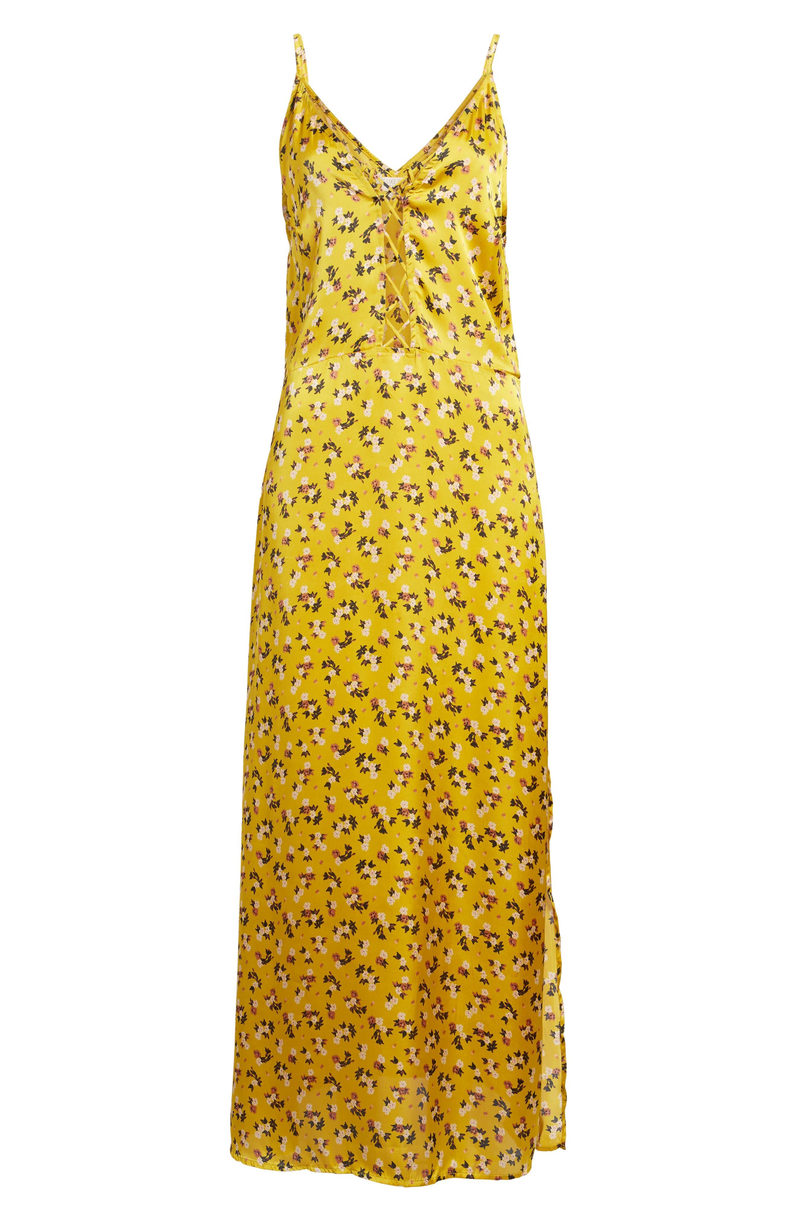 Floral Satin Maxi Dress,                             Alternate thumbnail 6, color,                             Burnt Gold