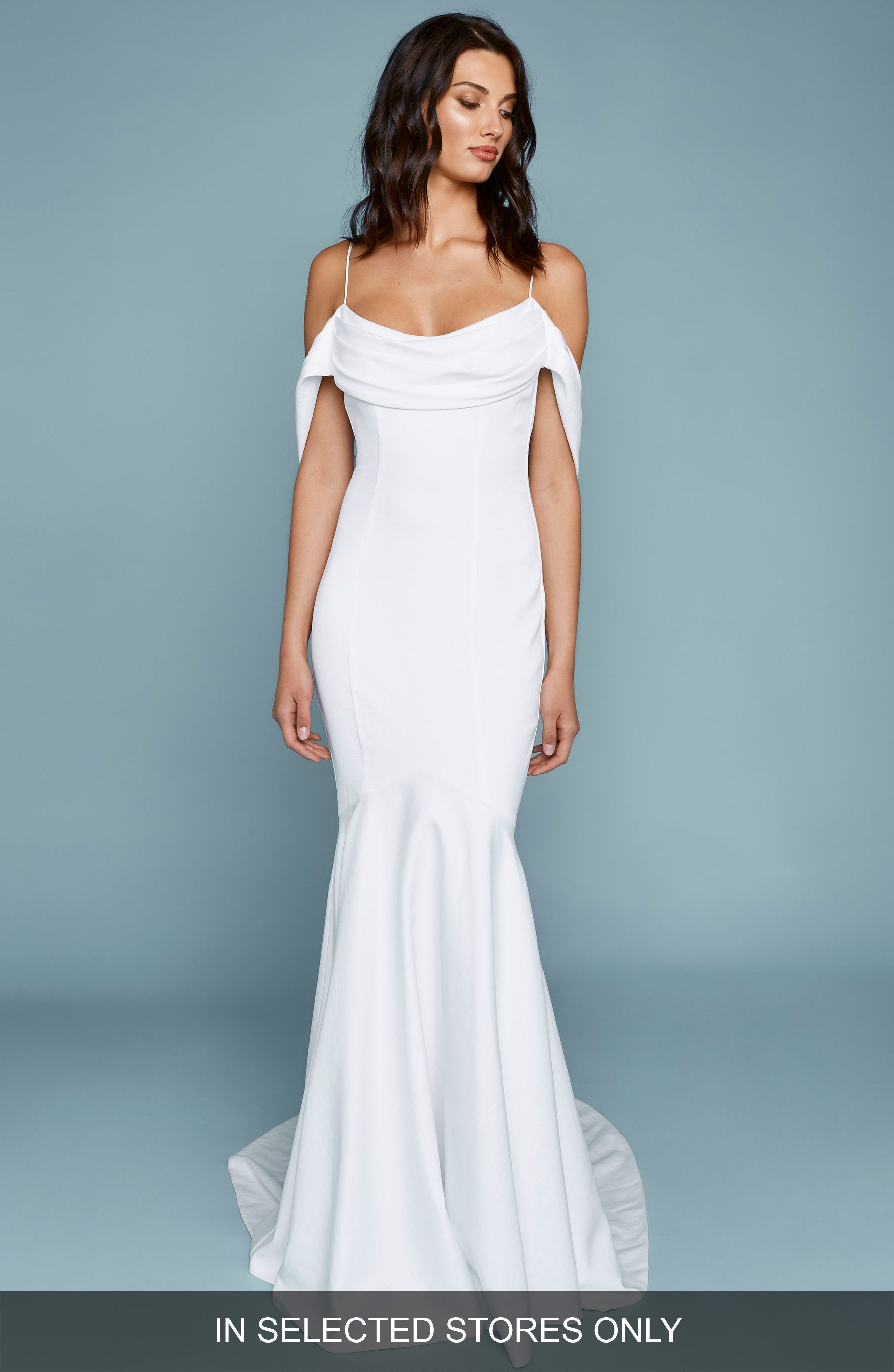 Draped Off the Shoulder Mermaid Gown,                             Main thumbnail 1, color,                             Ivory