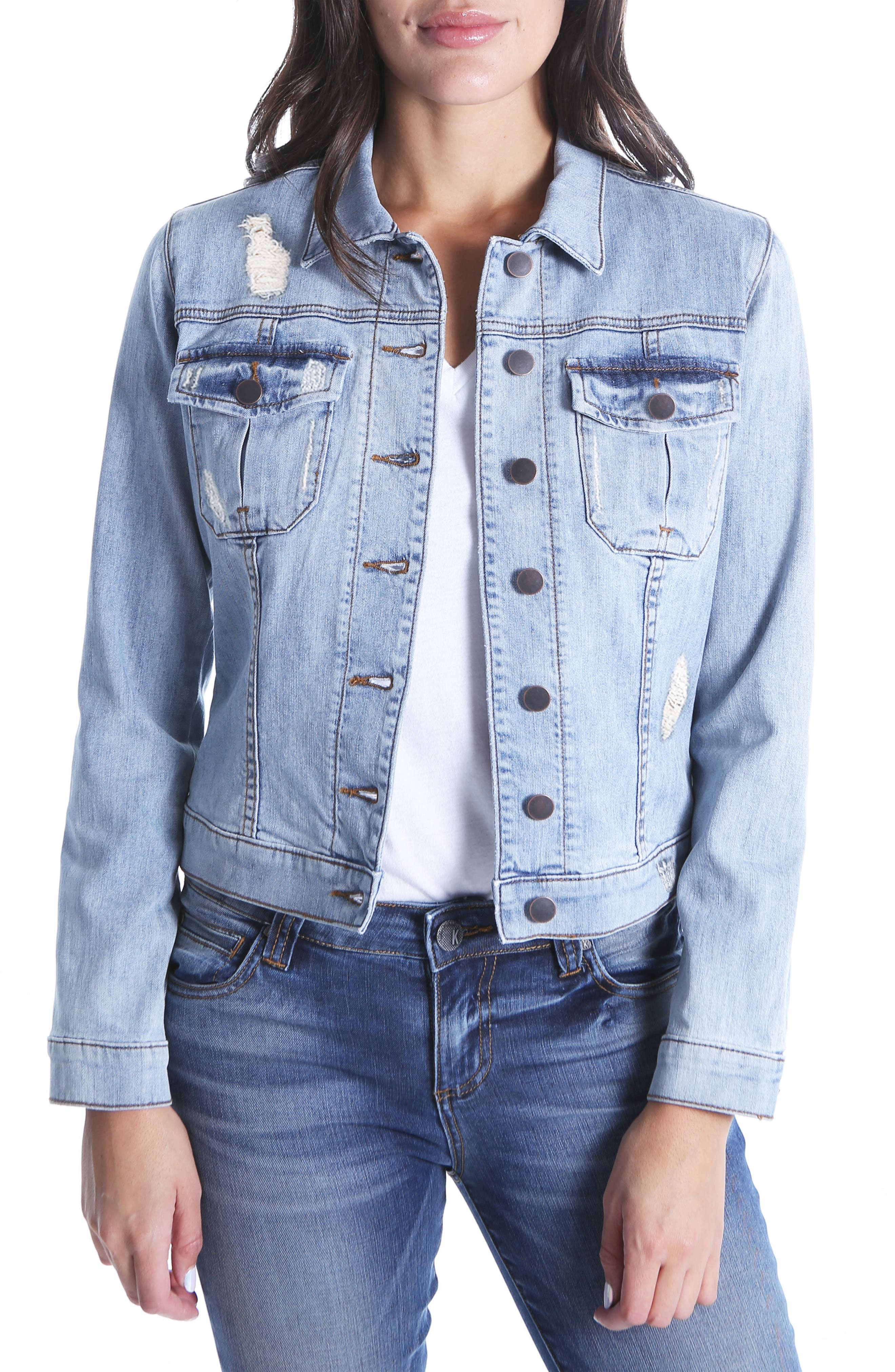 Amelia Distressed Denim Jacket,                         Main,                         color, Accessed