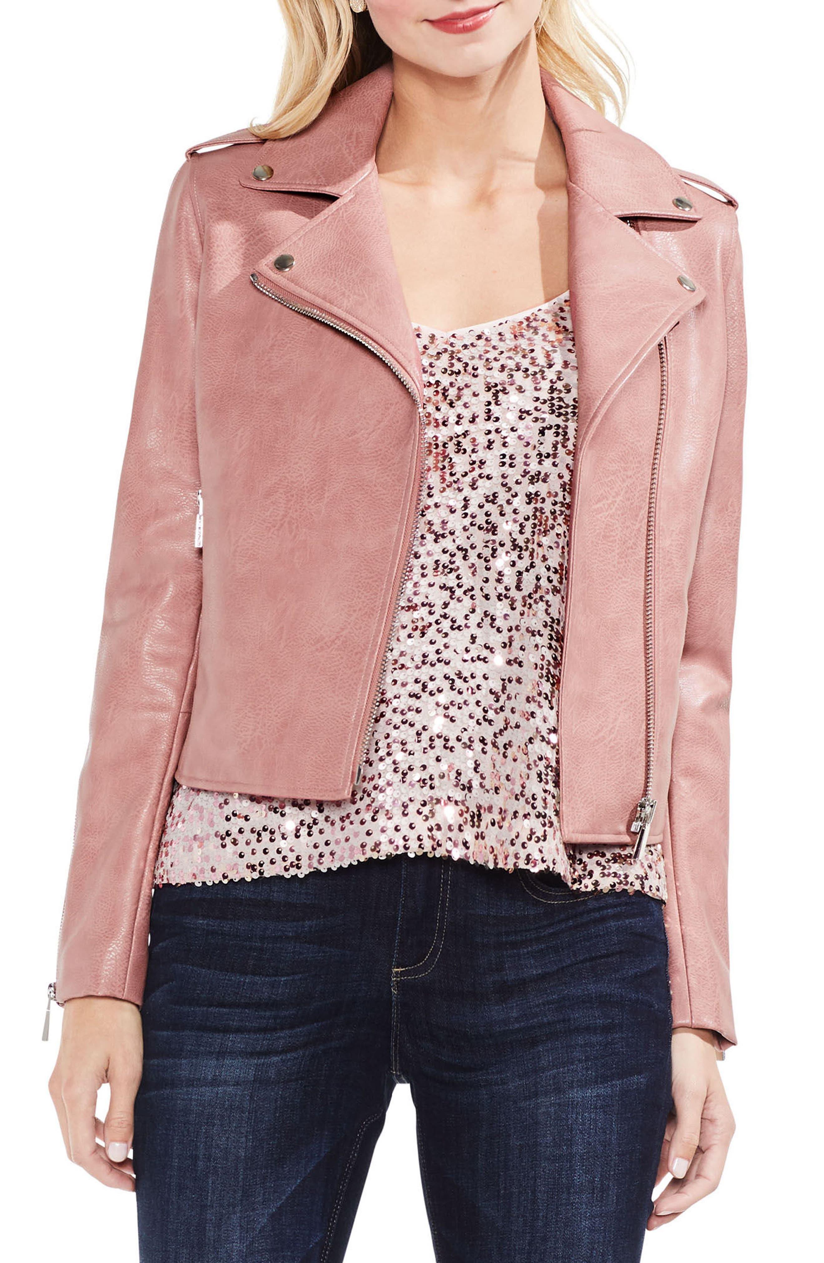 Pink Faux Leather Moto Jacket,                             Main thumbnail 1, color,                             Coral Cloud