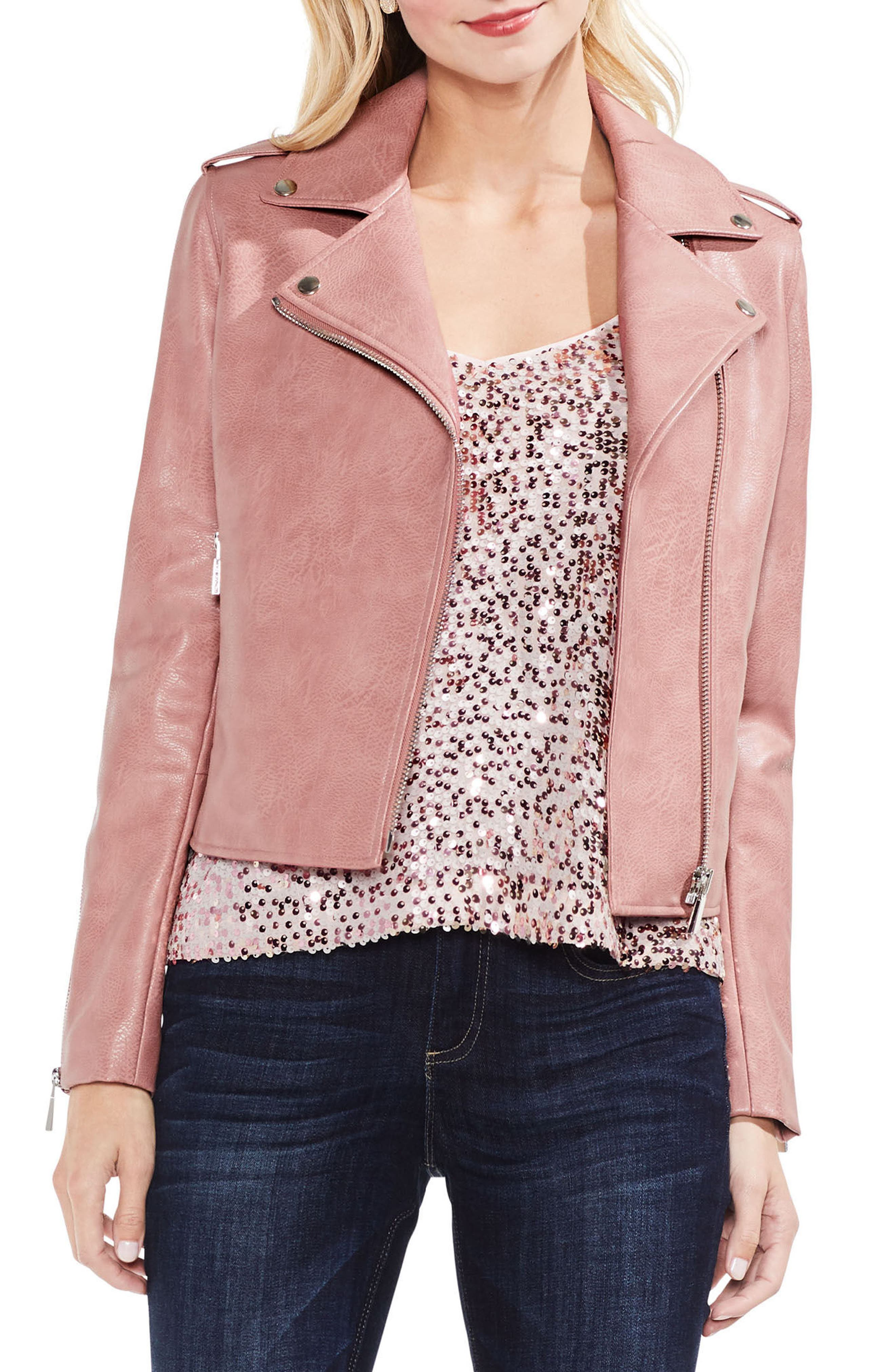 Pink Faux Leather Moto Jacket,                         Main,                         color, Coral Cloud