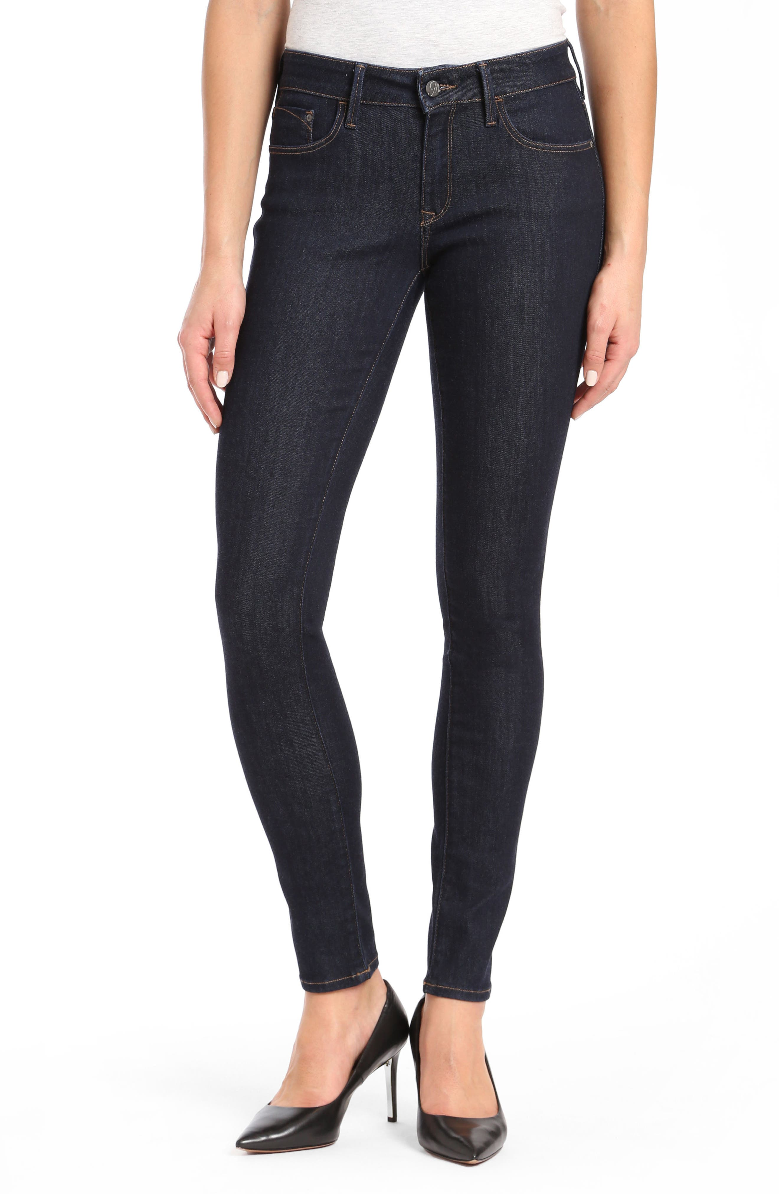 Alternate Image 1 Selected - Mavi Alexa Supersoft Skinny Jeans (Dark Rinse)