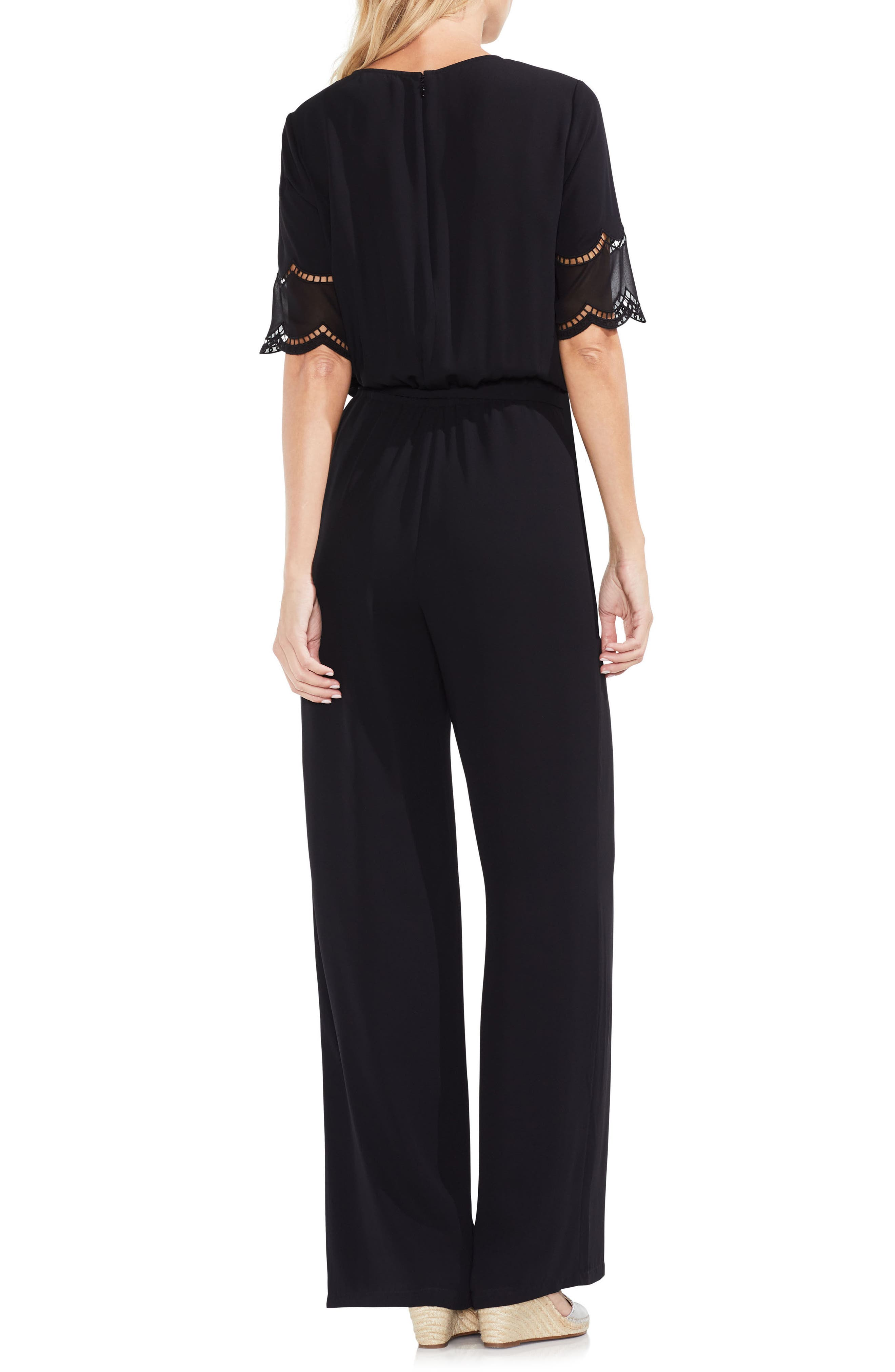 Embroidered Belted Jumpsuit,                             Alternate thumbnail 2, color,                             Rich Black