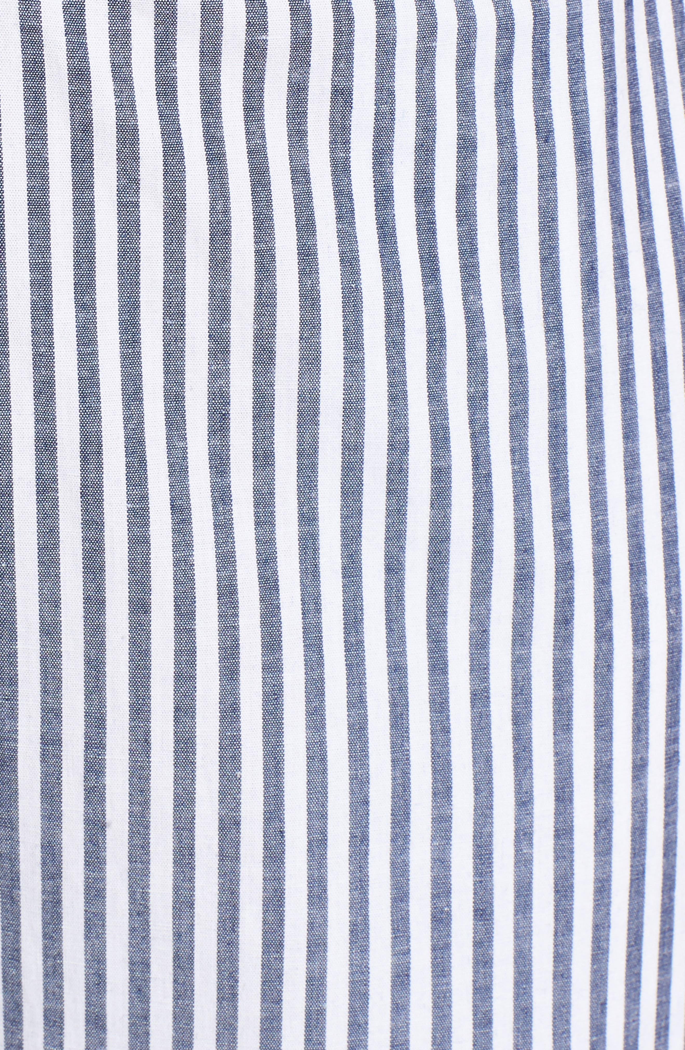 Tie Front Jumpsuit,                             Alternate thumbnail 5, color,                             Blue-White Stripe