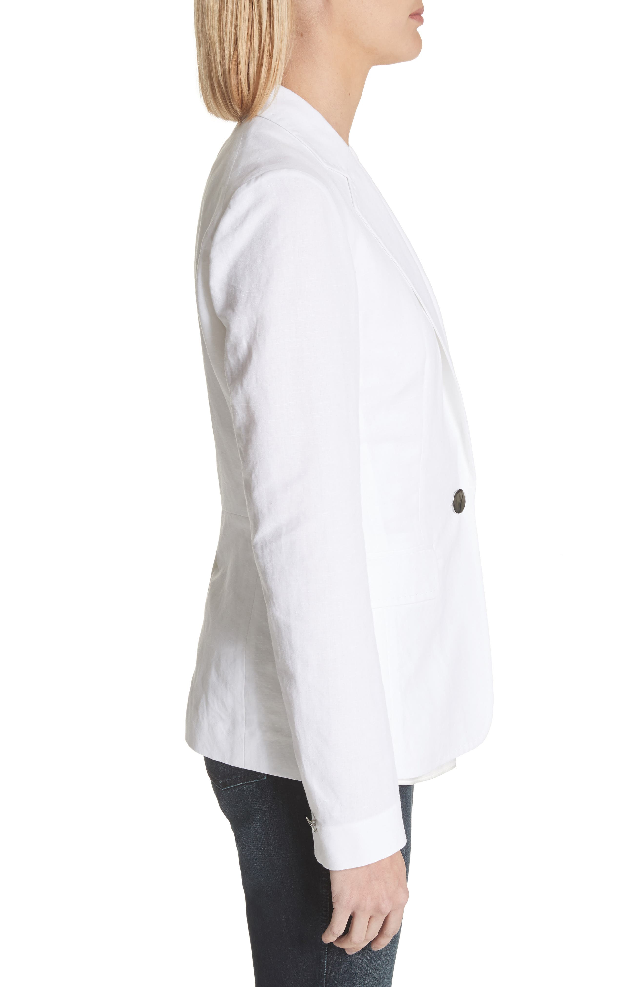 Lyndon Courtly Cotton & Linen Jacket,                             Alternate thumbnail 3, color,                             White