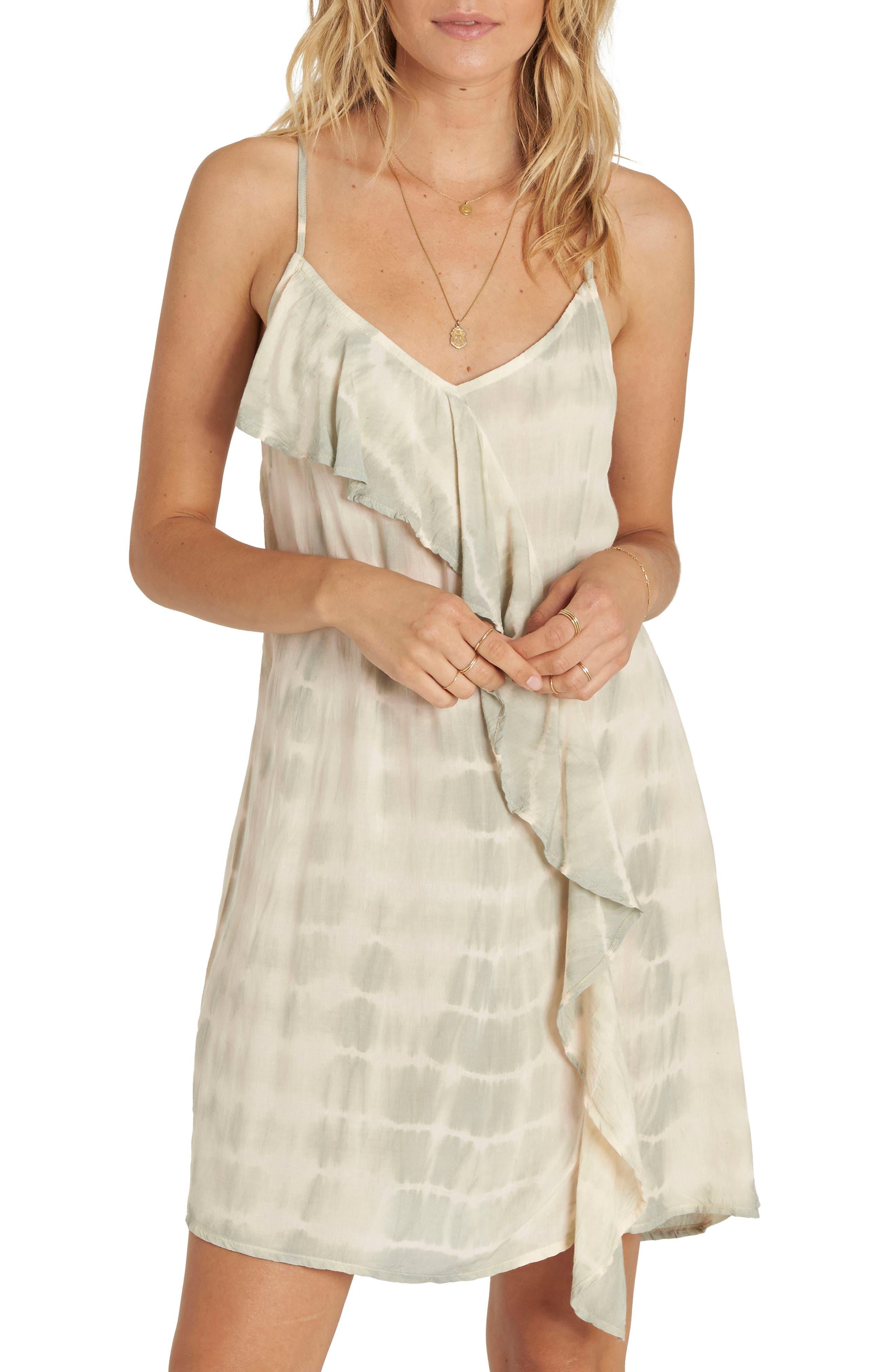 Glass Water Tie Dye Ruffle Dress,                             Main thumbnail 1, color,                             Mineral Green
