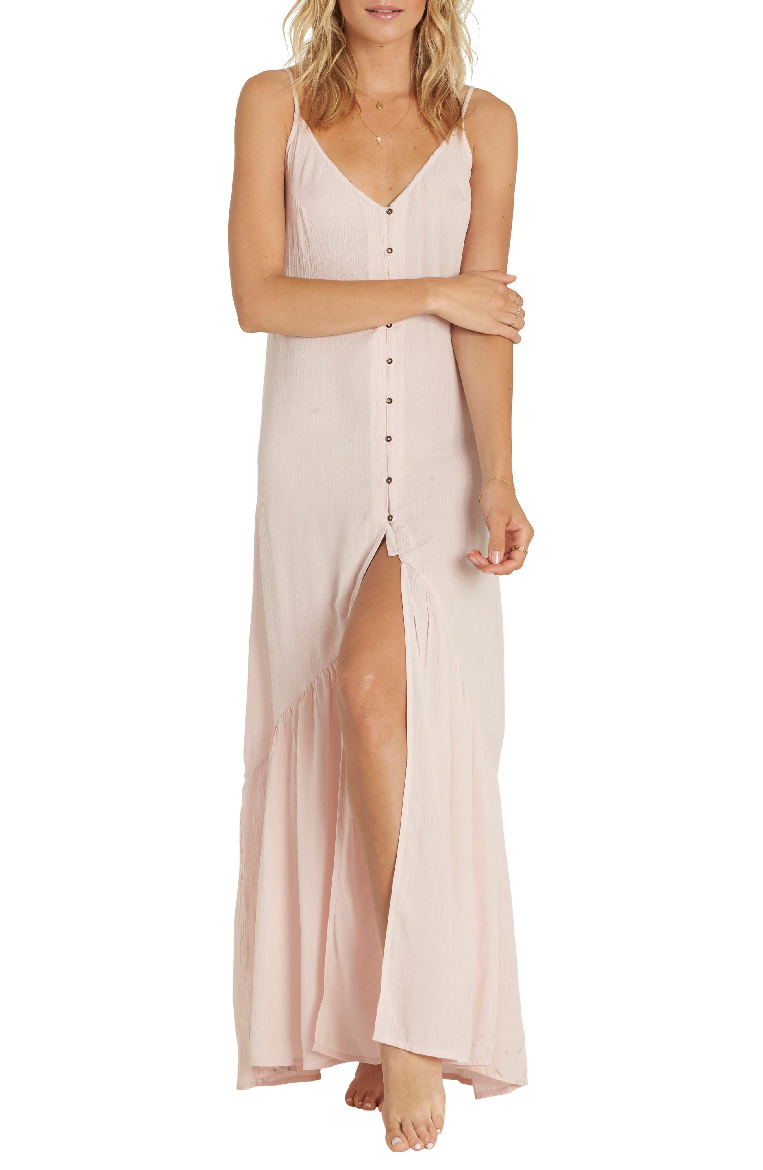 Dance on Air Button Front Maxi Dress,                         Main,                         color, Tanline