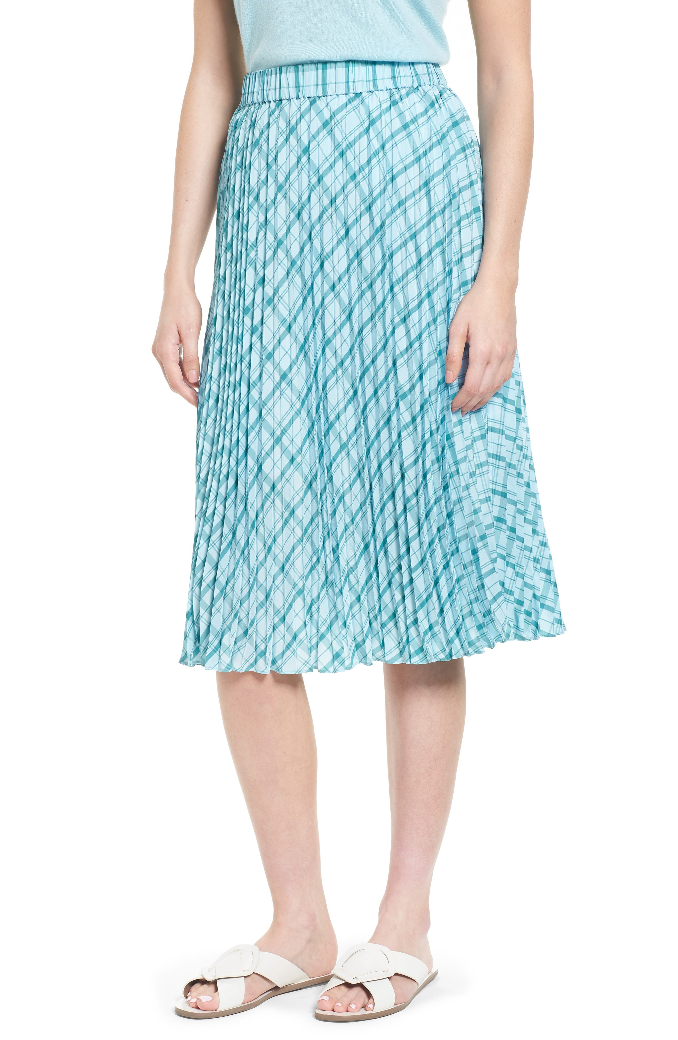 Nordstrom Signature Pleat Plaid Midi Skirt