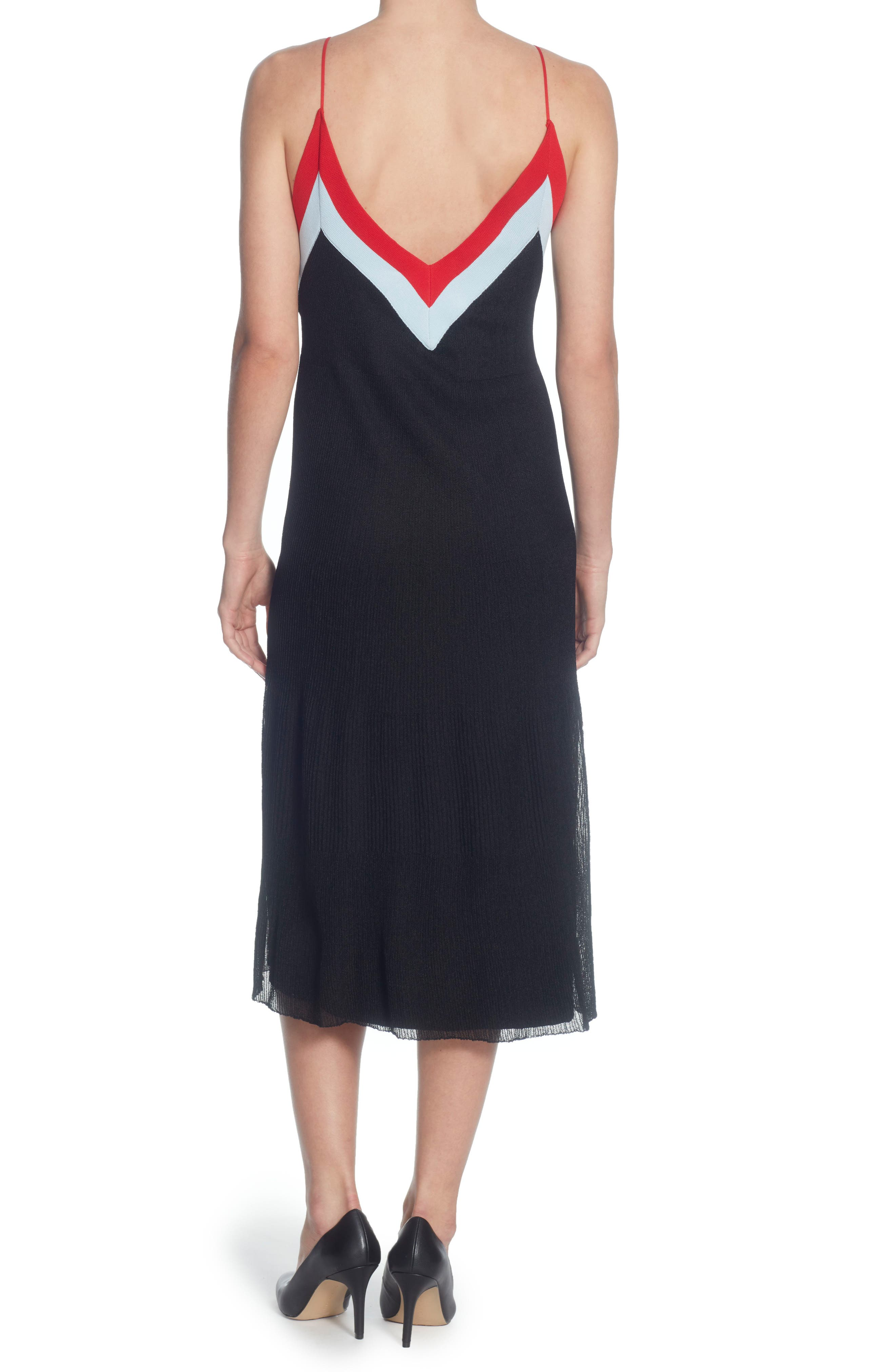 Olympe Fit and Flare Dress,                             Alternate thumbnail 2, color,                             Black/ Powder Blue/ Red