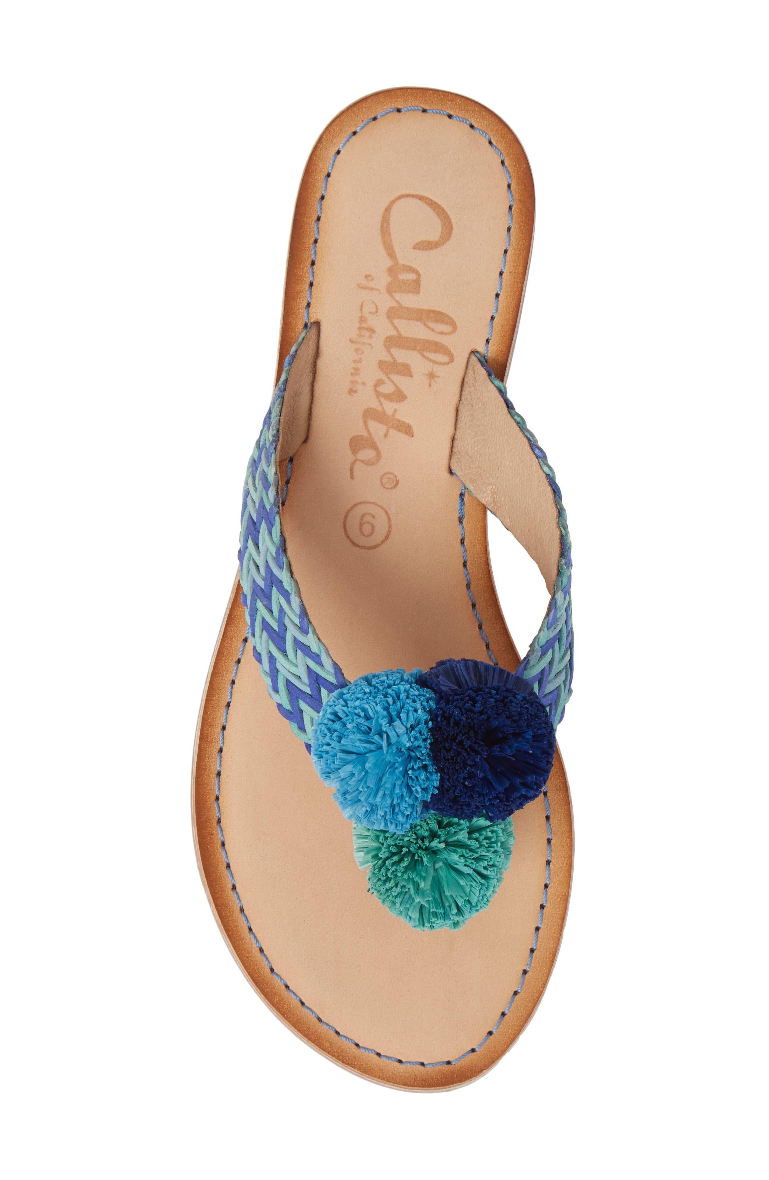 Pomm Flip Flop,                             Alternate thumbnail 5, color,                             Blue Leather