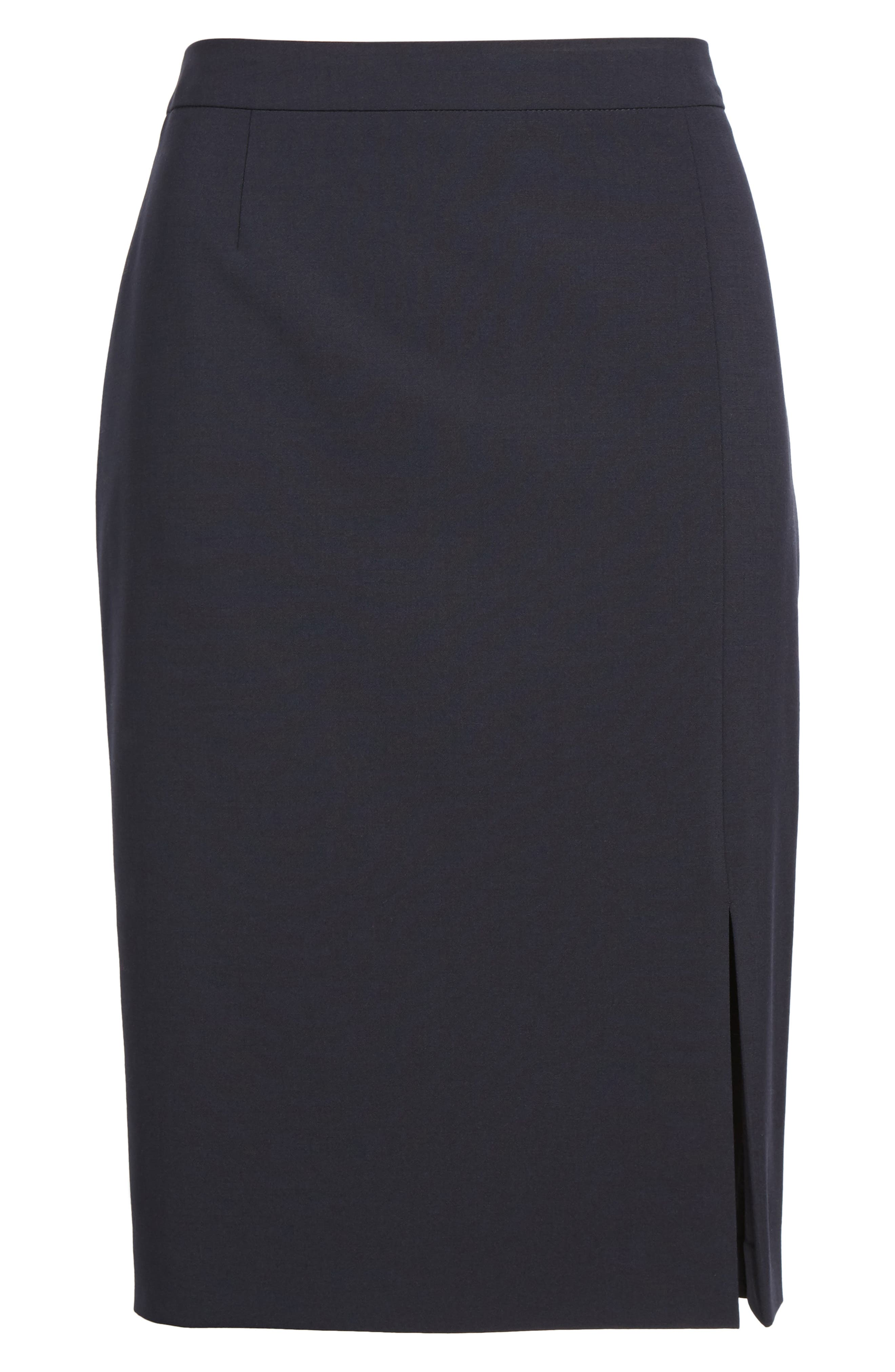 Volania Stretch Wool Side Slit Pencil Skirt,                             Alternate thumbnail 6, color,                             Navy