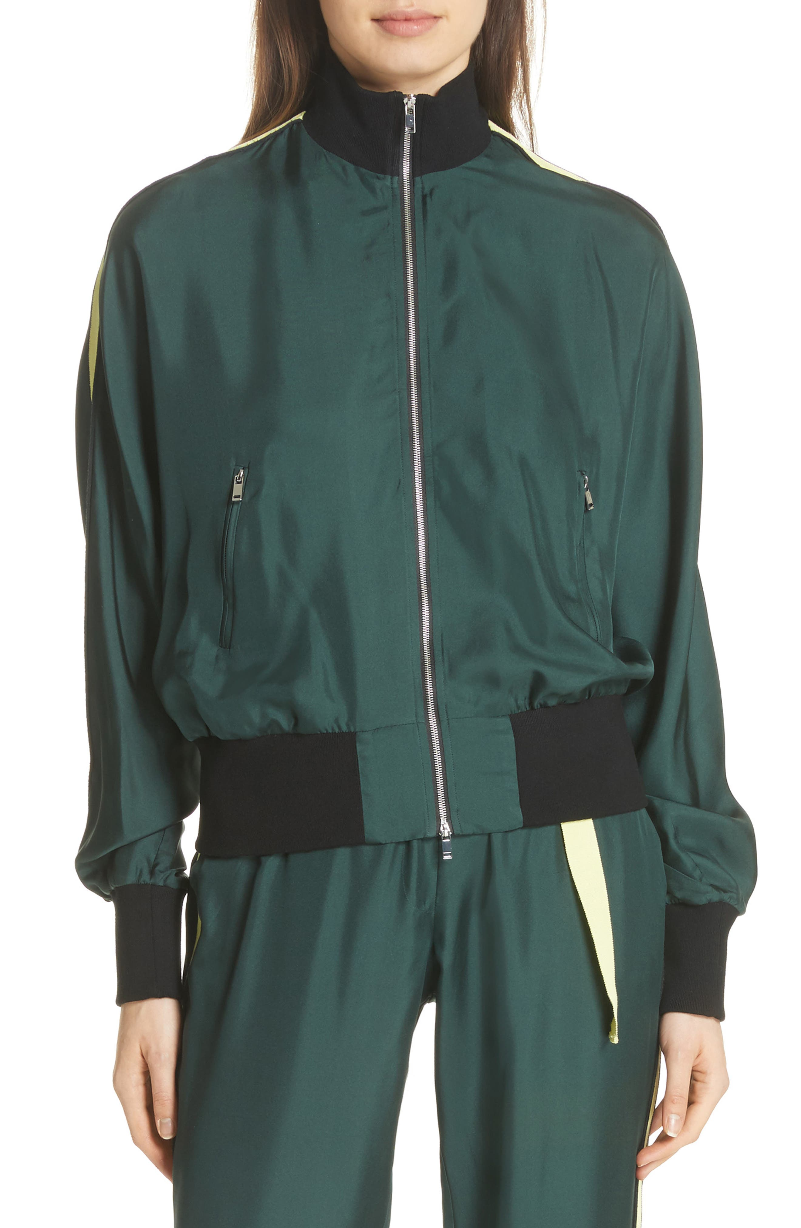 Silk Track Jacket,                         Main,                         color, Green