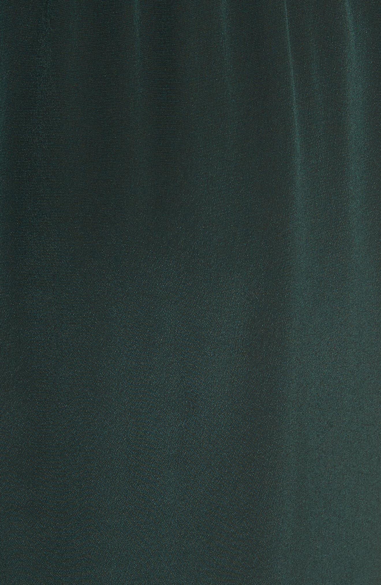 Lace Trim Silk Slipdress,                             Alternate thumbnail 5, color,                             Green Combo