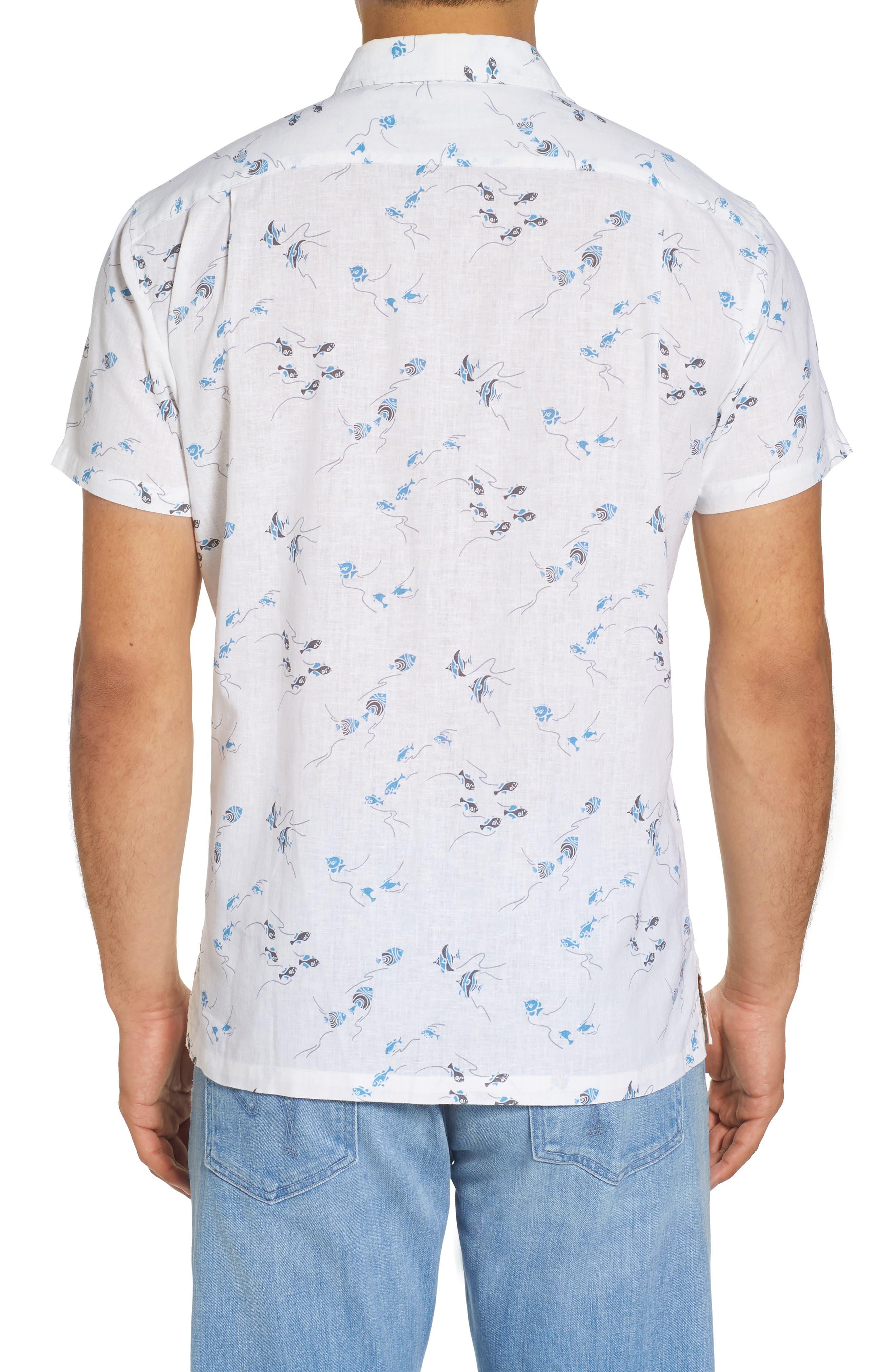 Swim School Standard Fit Linen Blend Camp Shirt,                             Alternate thumbnail 2, color,                             White