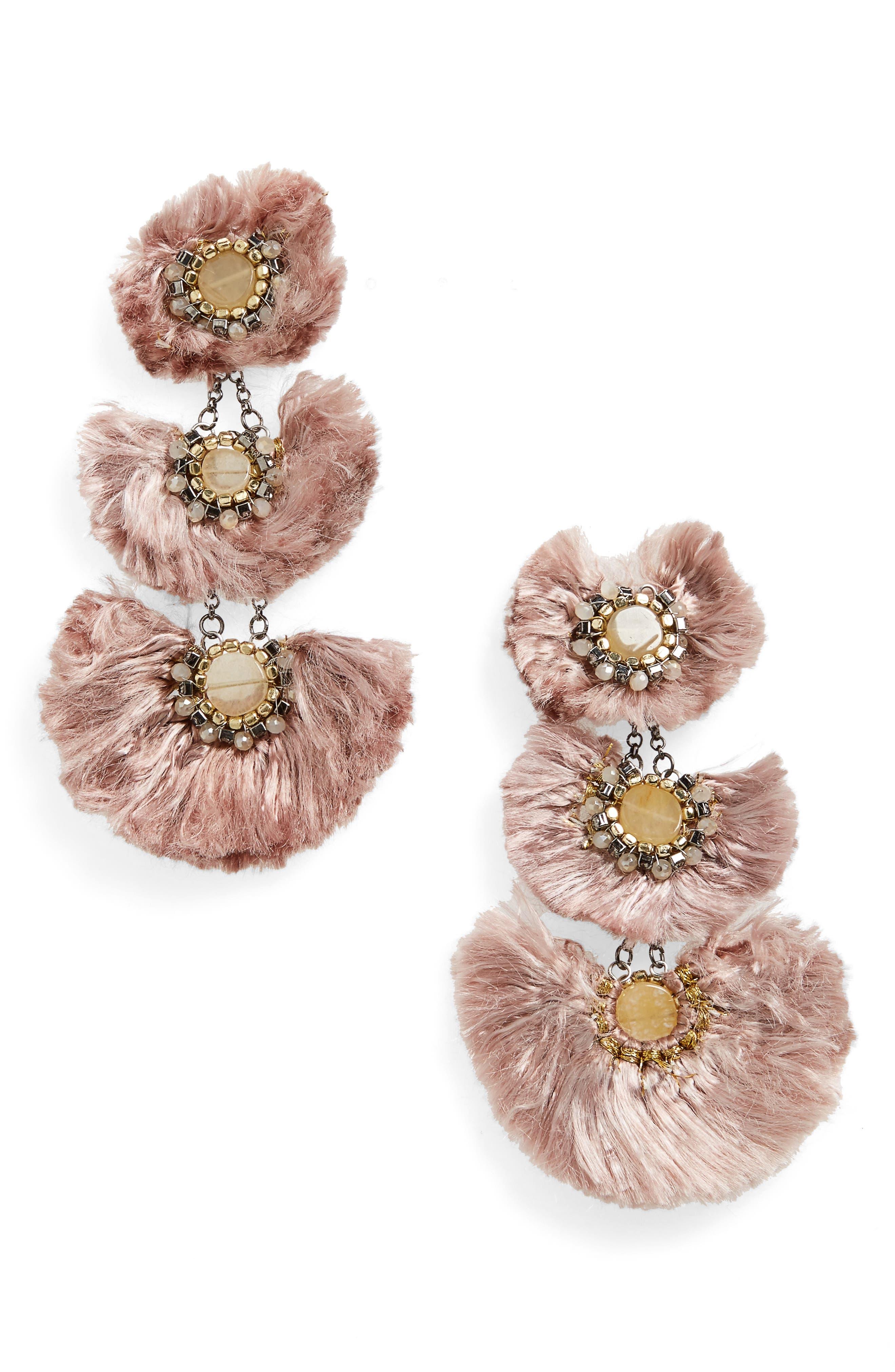 BP. Double Fan Beaded Drop Earrings