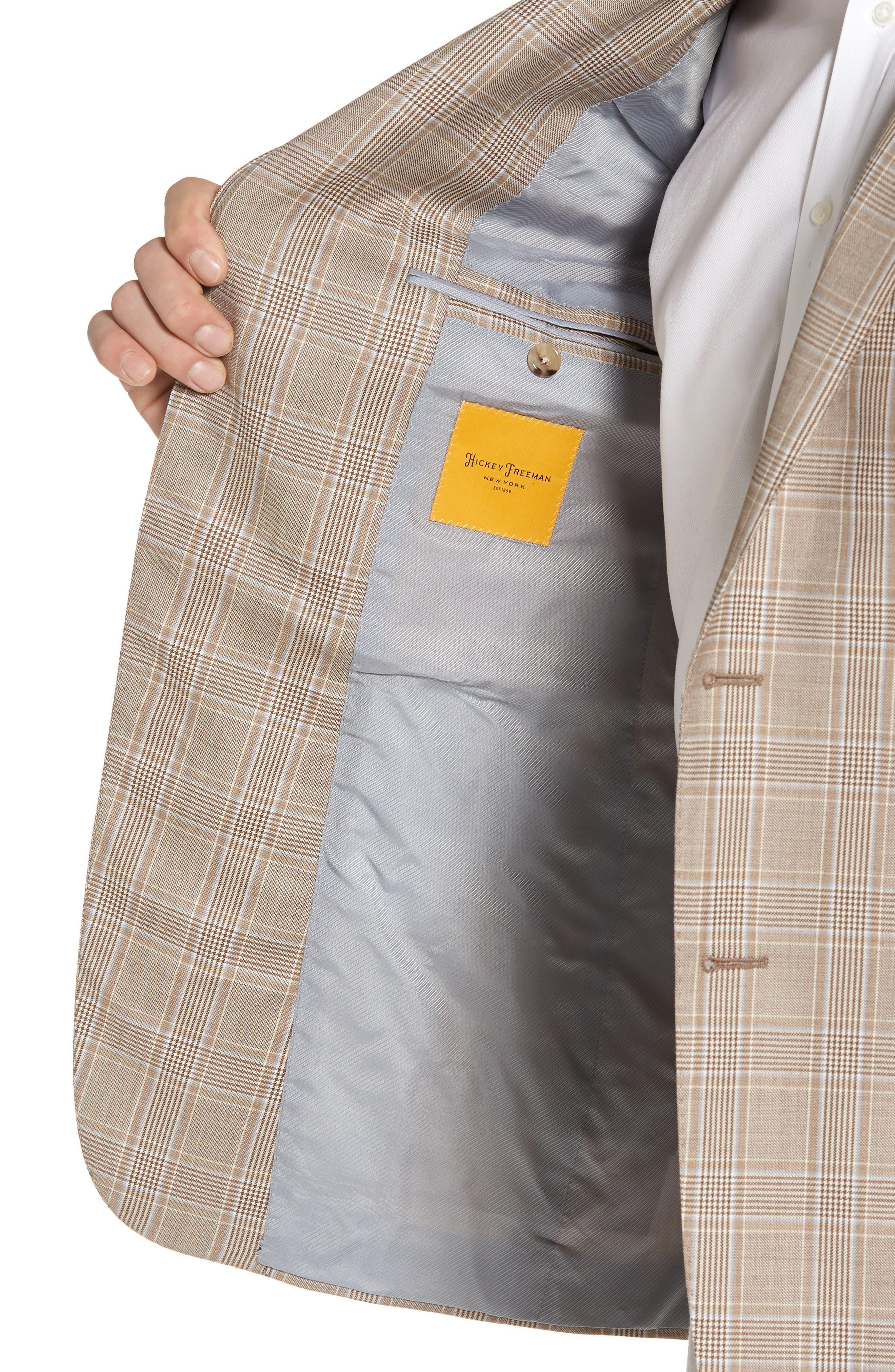 Classic B Fit Plaid Wool Sport Coat,                             Alternate thumbnail 4, color,                             Beige