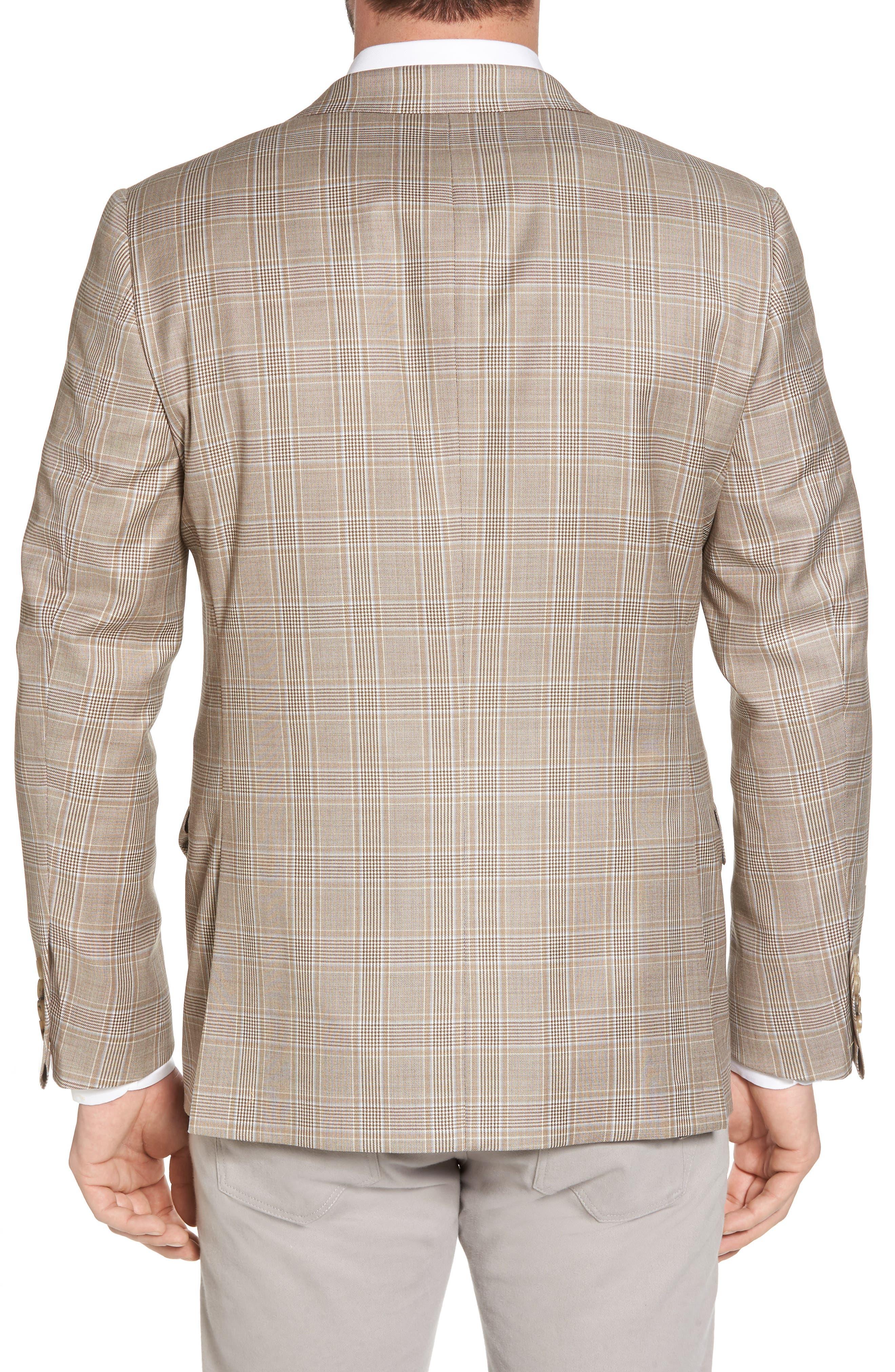 Classic B Fit Plaid Wool Sport Coat,                             Alternate thumbnail 2, color,                             Beige
