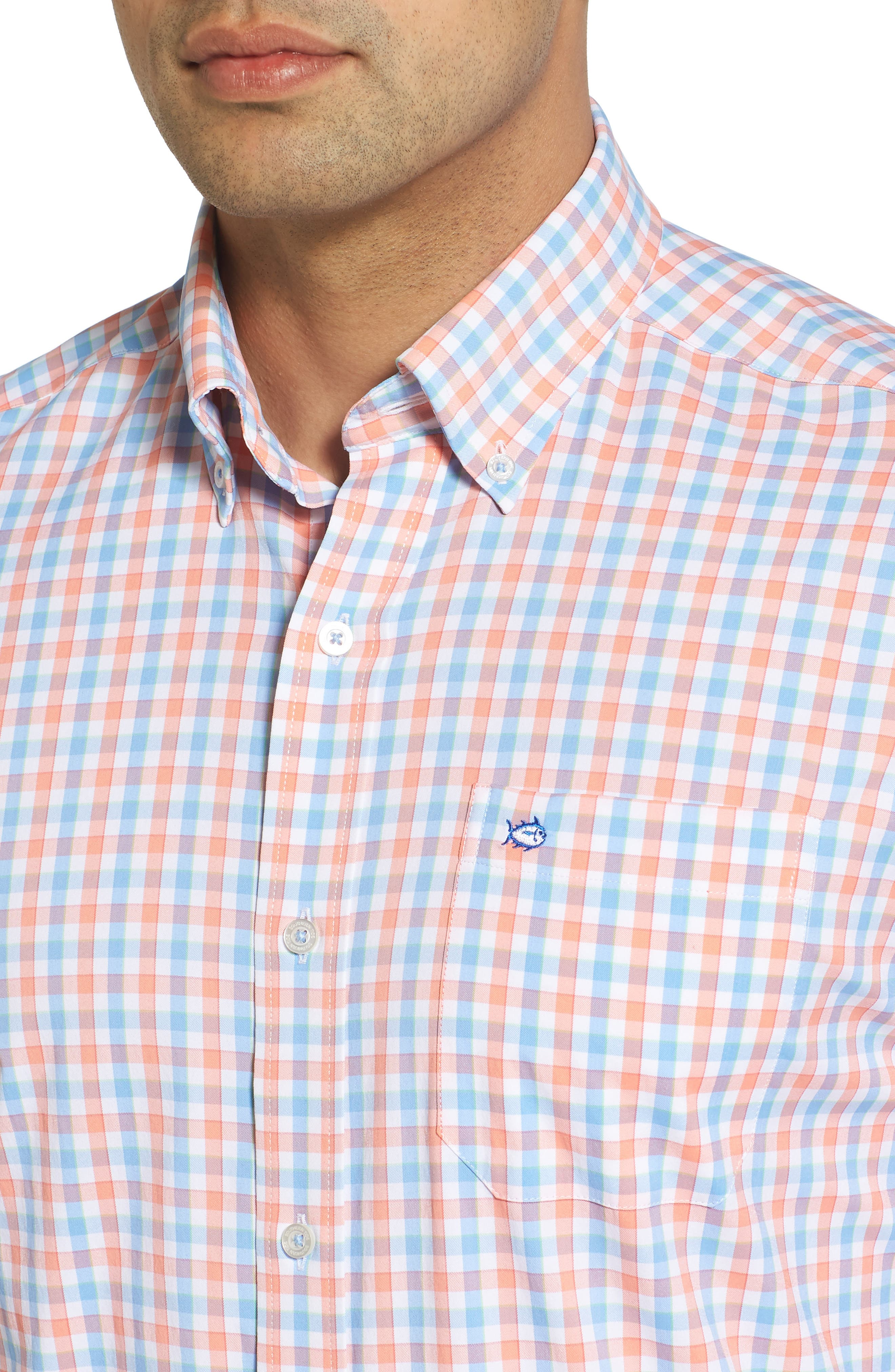 Market Square Regular Fit Stretch Check Sport Shirt,                             Alternate thumbnail 4, color,                             Nectar Coral