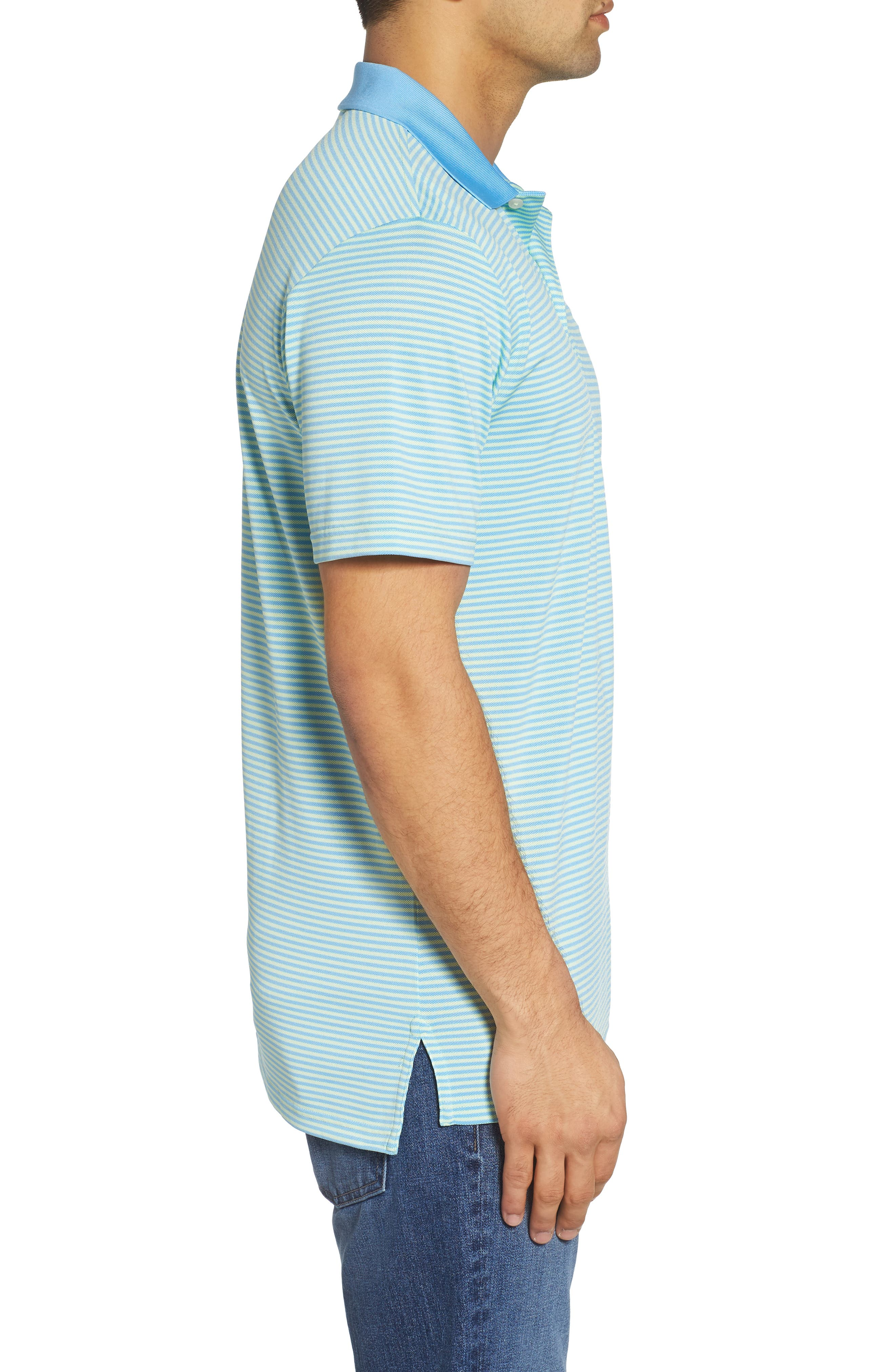 Regular Fit Stripe Stretch Polo,                             Alternate thumbnail 3, color,                             Lime