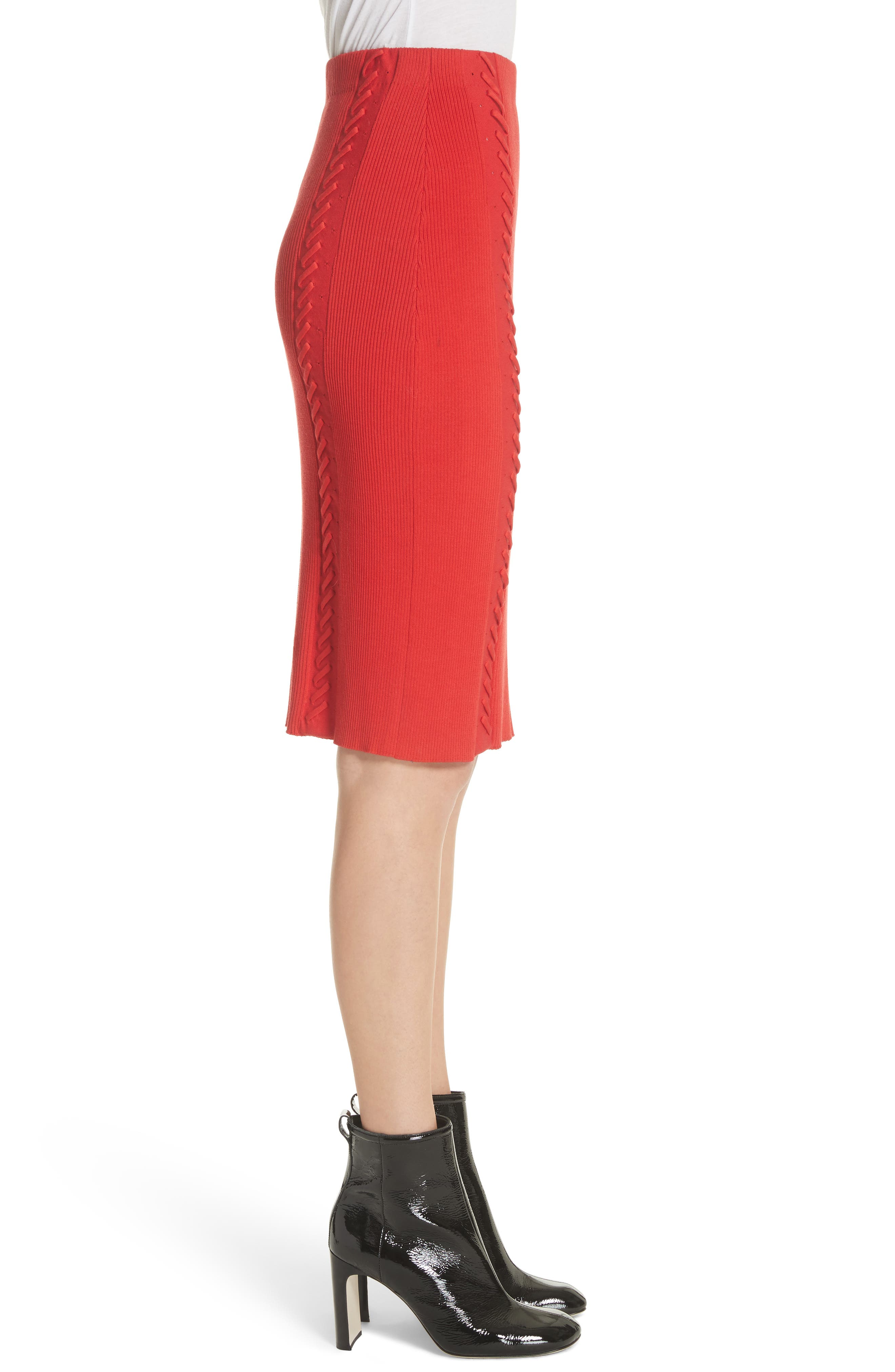 Brandy Whipstitch Pencil Skirt,                             Alternate thumbnail 3, color,                             Red