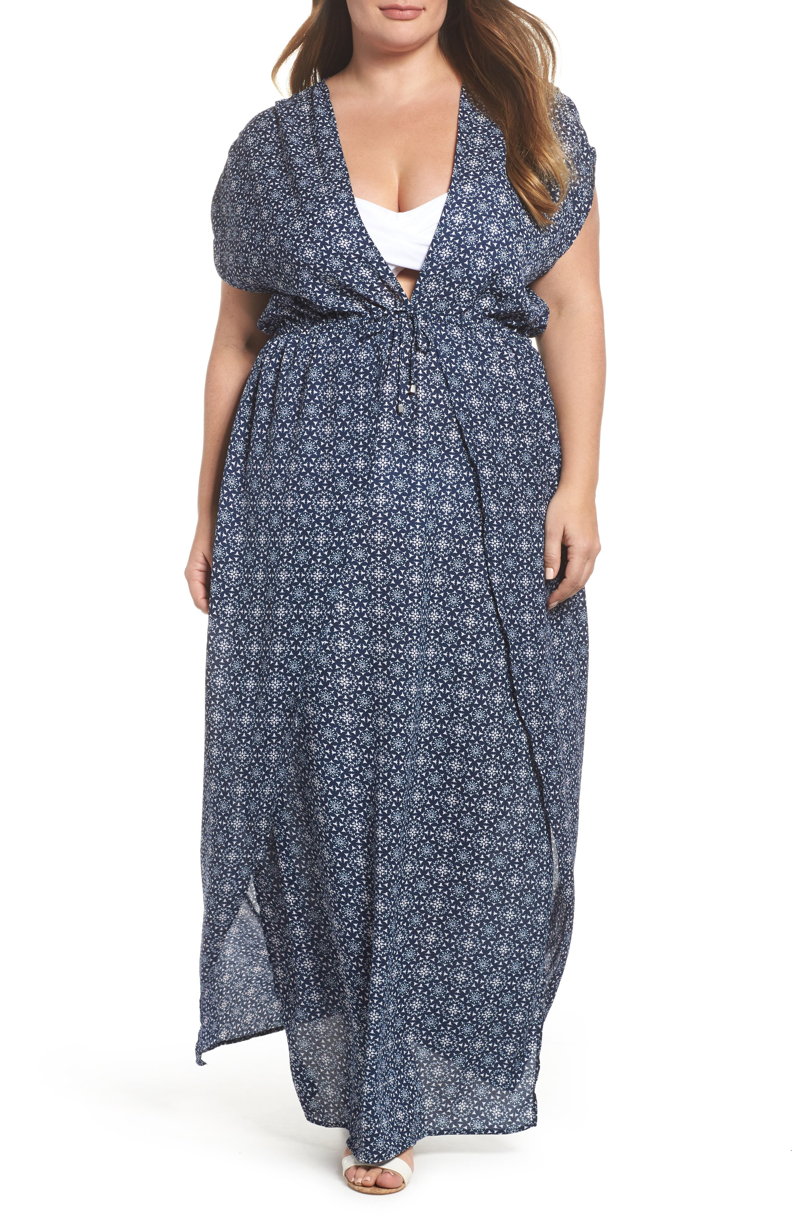 Main Image - Elan Print Cover-Up Maxi Dress (Plus Size)