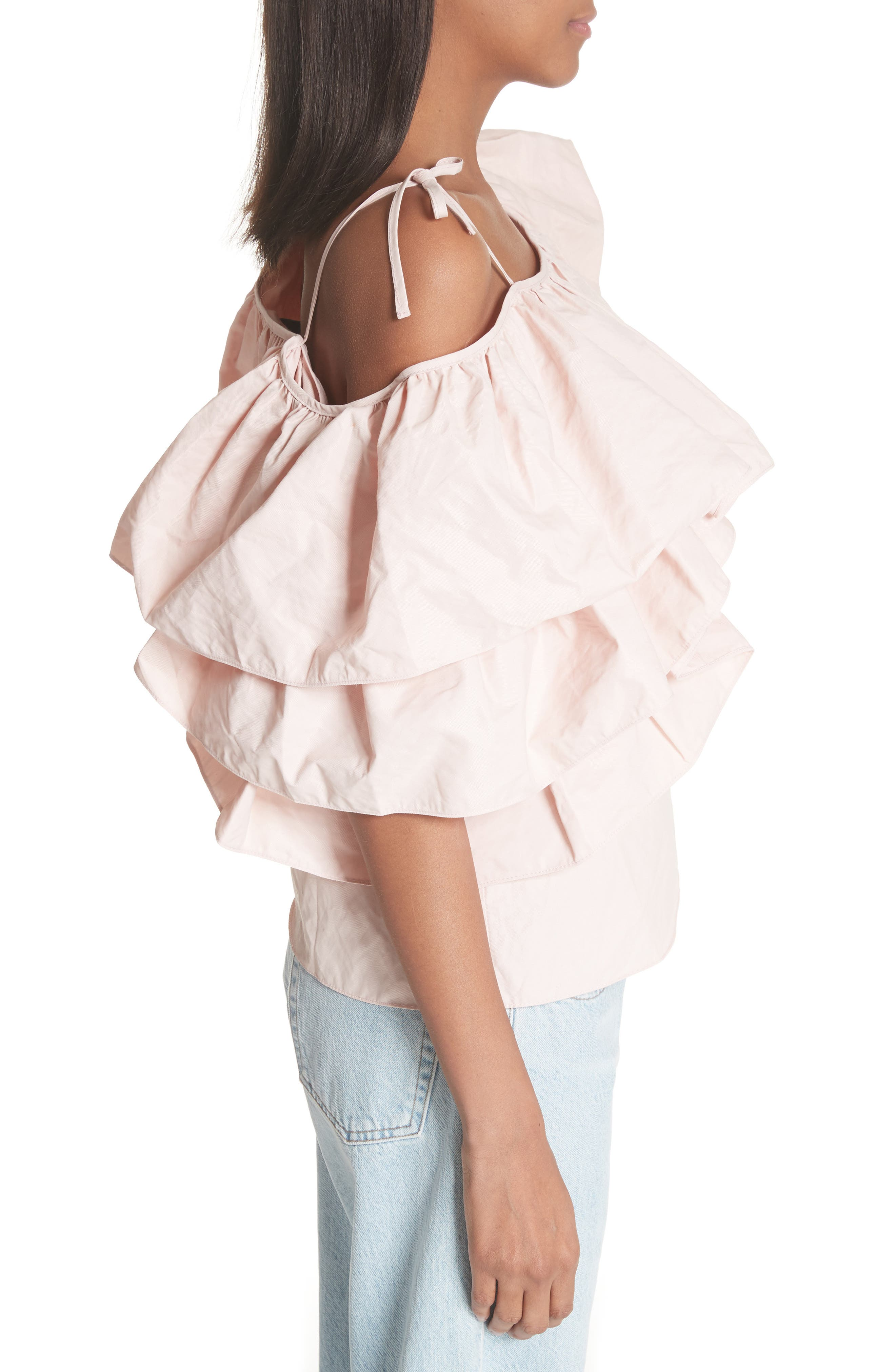 Marques'Almeida One Shoulder Ruffle Top,                             Alternate thumbnail 3, color,                             Pale Pink