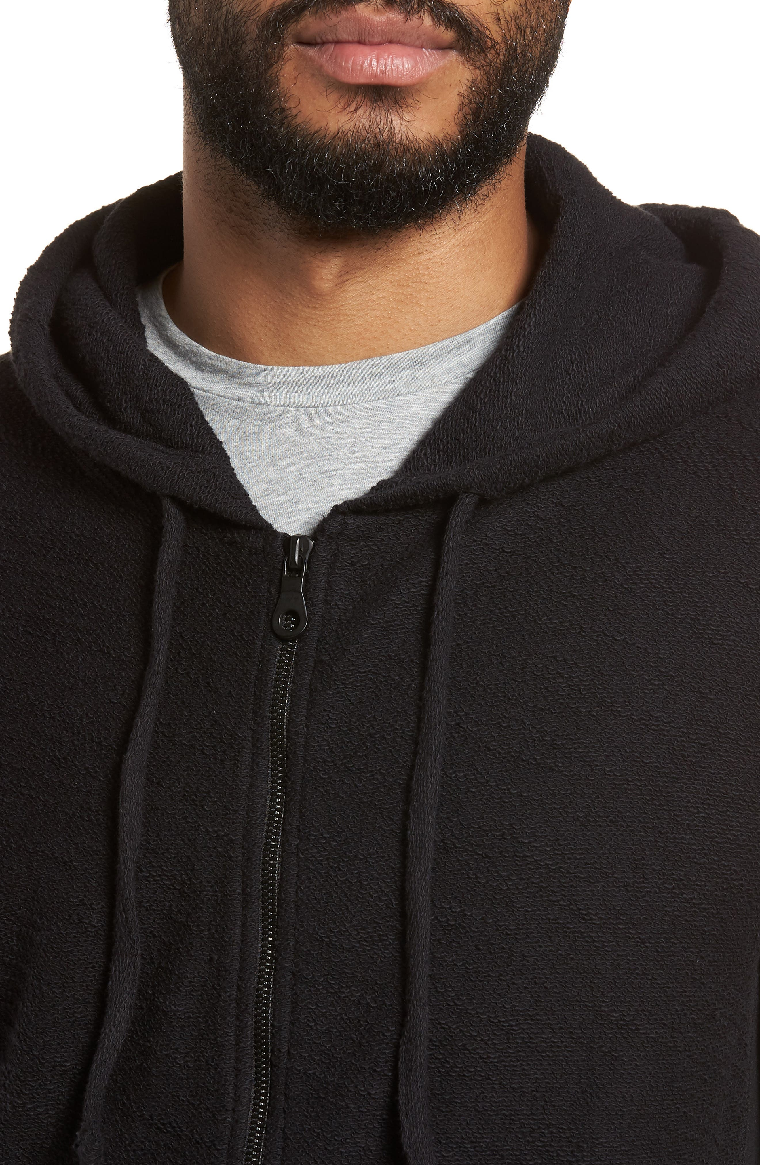 Terrycloth Cotton Blend Zip Hoodie,                             Alternate thumbnail 4, color,                             Black
