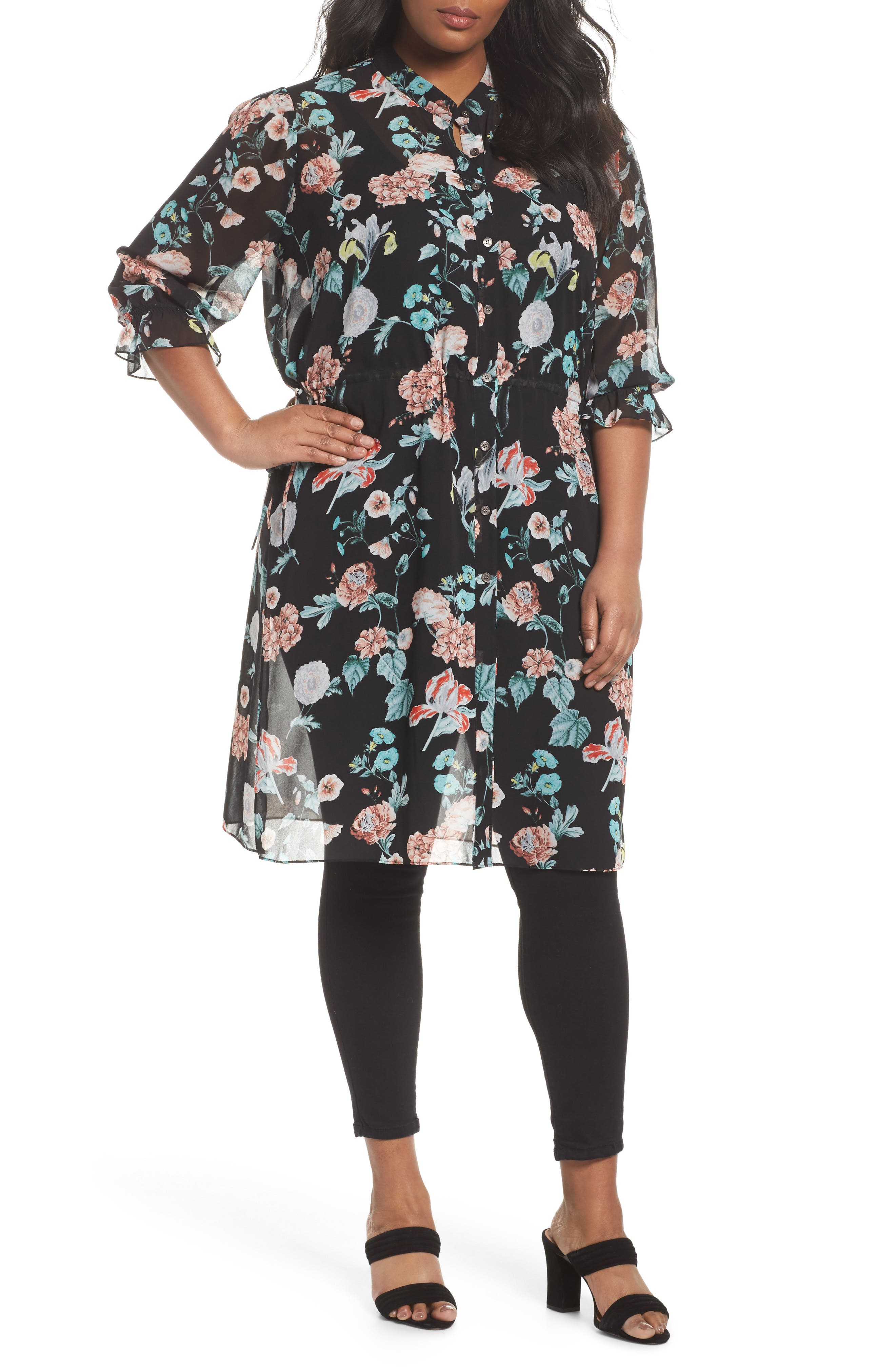 Faded Blooms Tunic Dress,                             Main thumbnail 1, color,                             Rich Black
