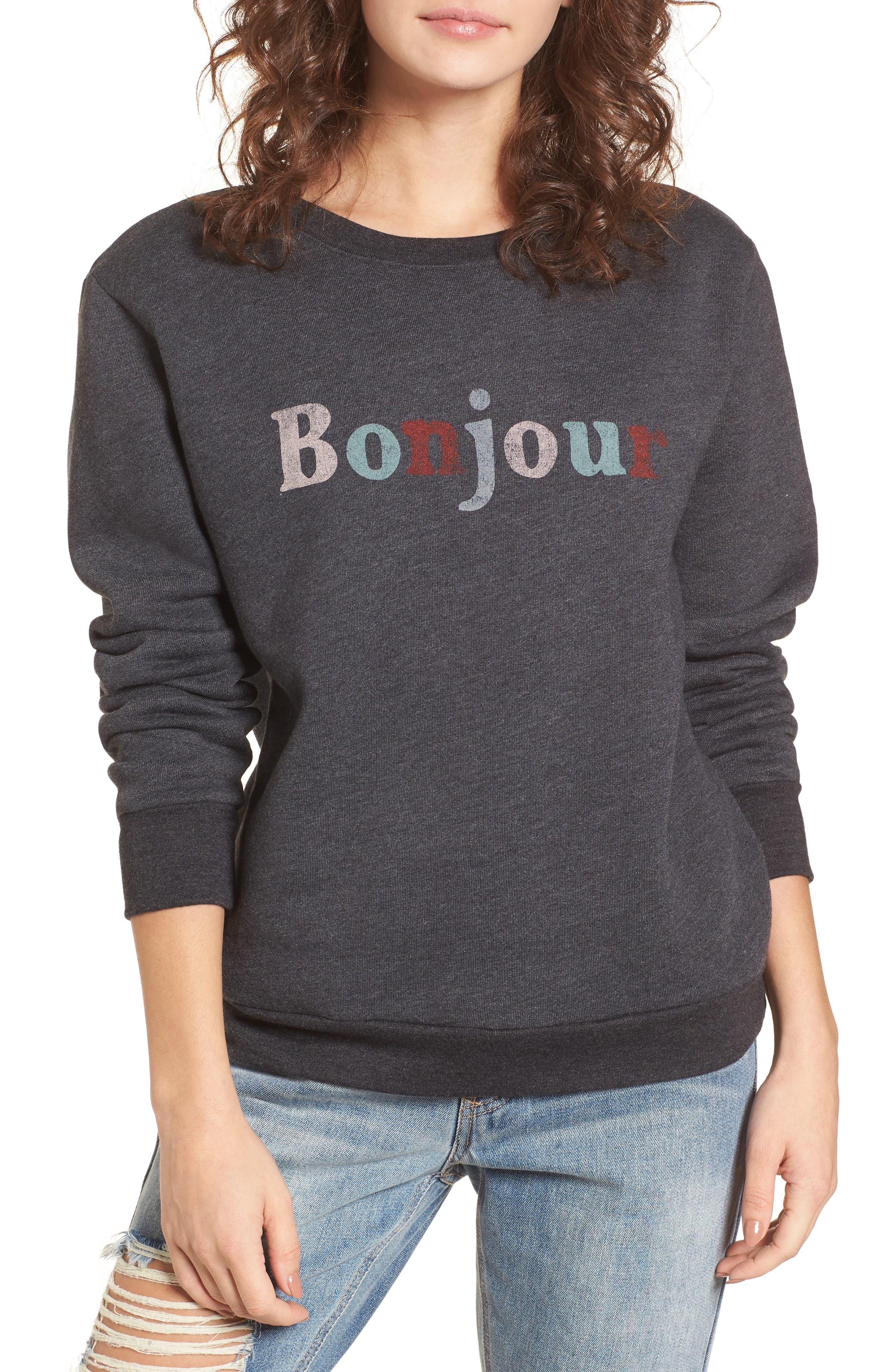 Bonjour Sweatshirt,                         Main,                         color, Faded Black