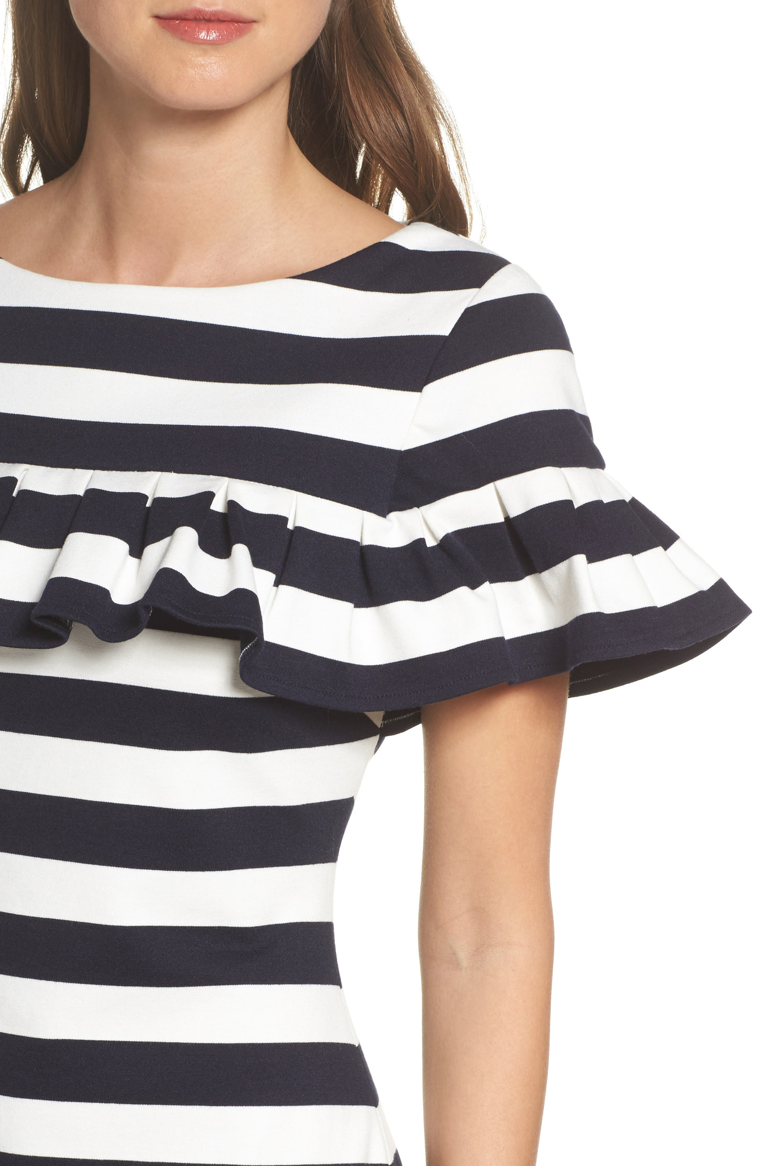 Stripe Ruffle Sheath Dress,                             Alternate thumbnail 4, color,                             Navy/ Ivory