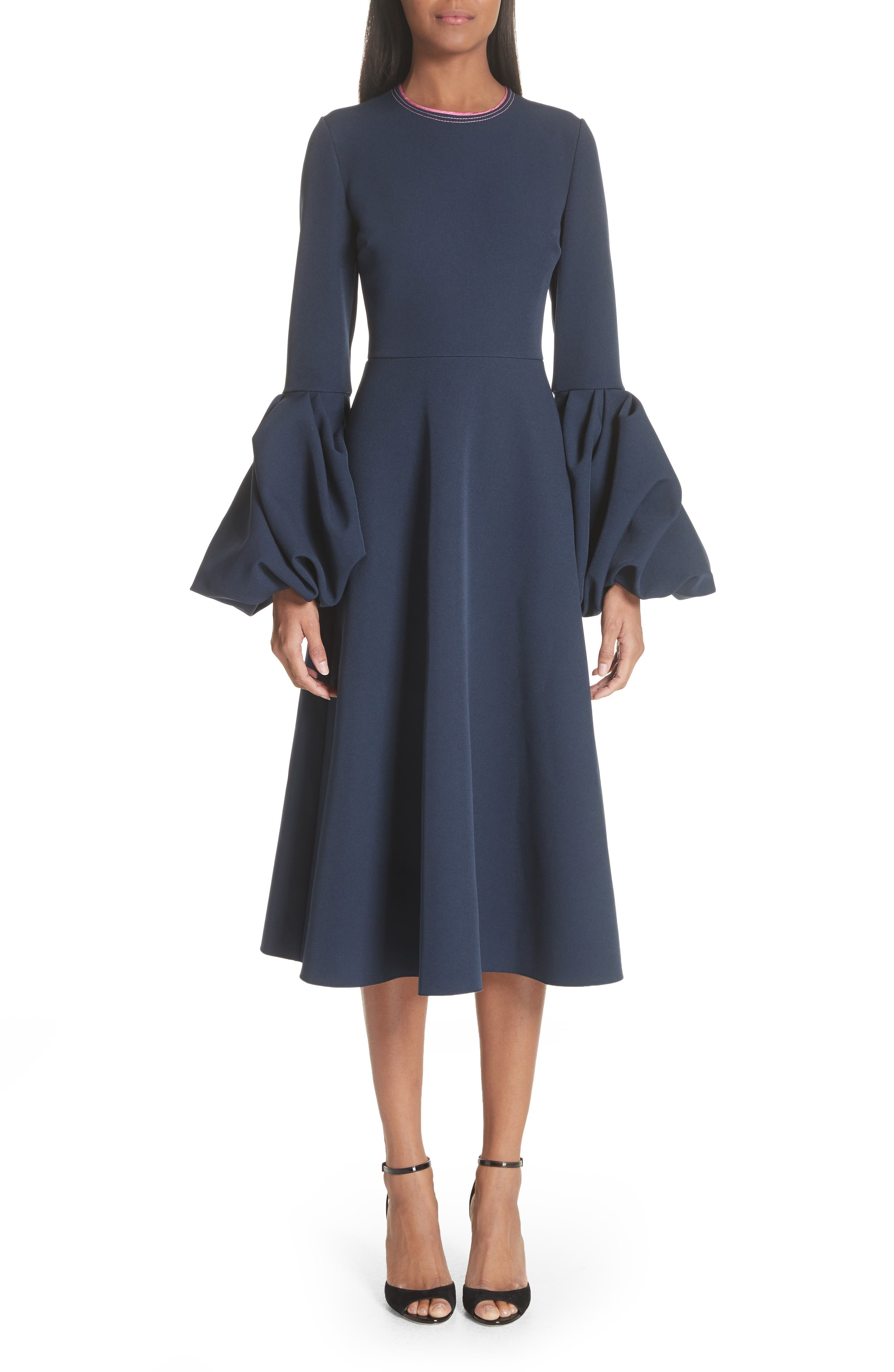 Aylin Bell Sleeve Dress,                             Main thumbnail 1, color,                             Squid Ink
