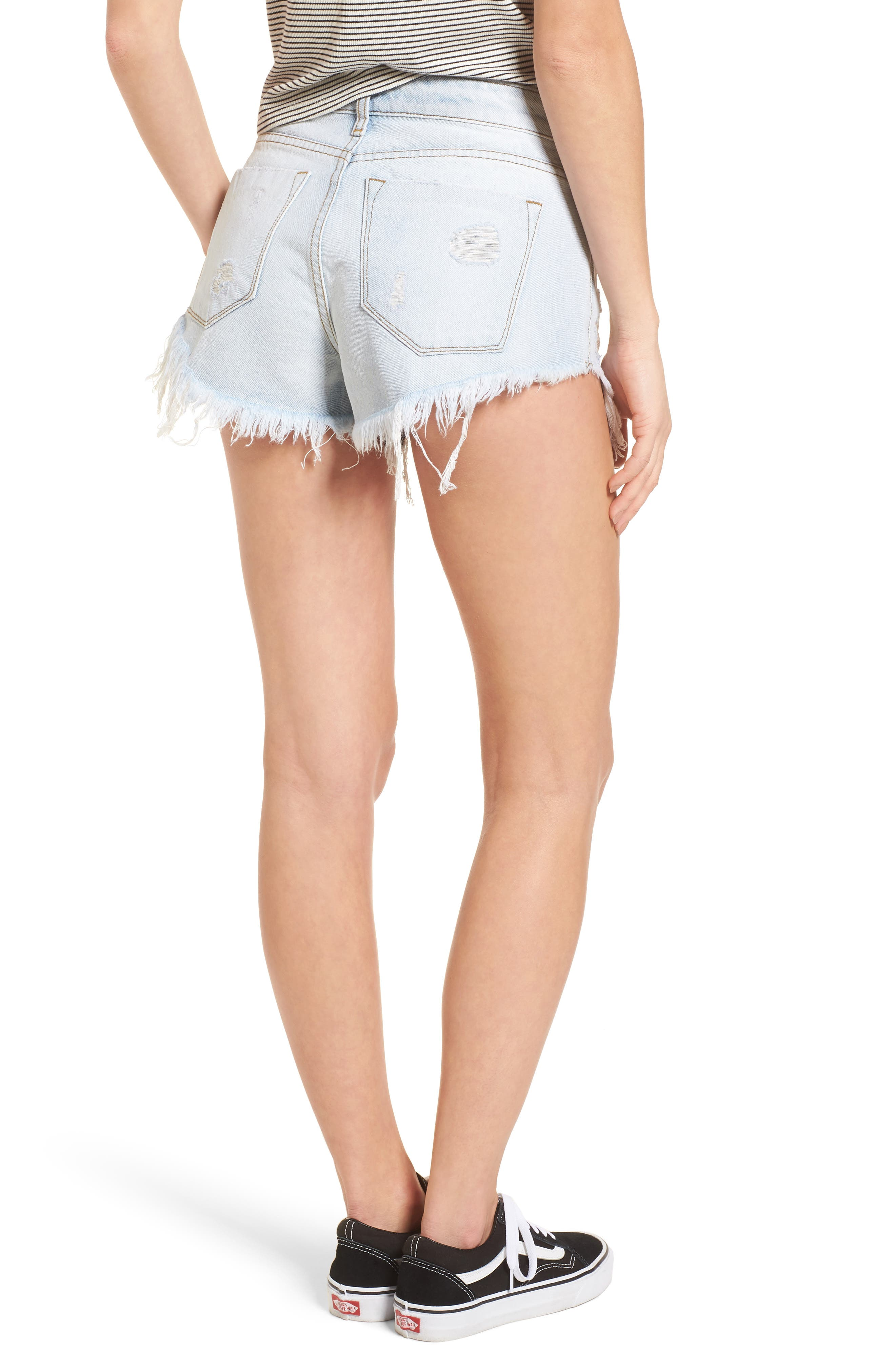 Fray Hem Denim Shorts,                             Alternate thumbnail 2, color,                             Light Wash