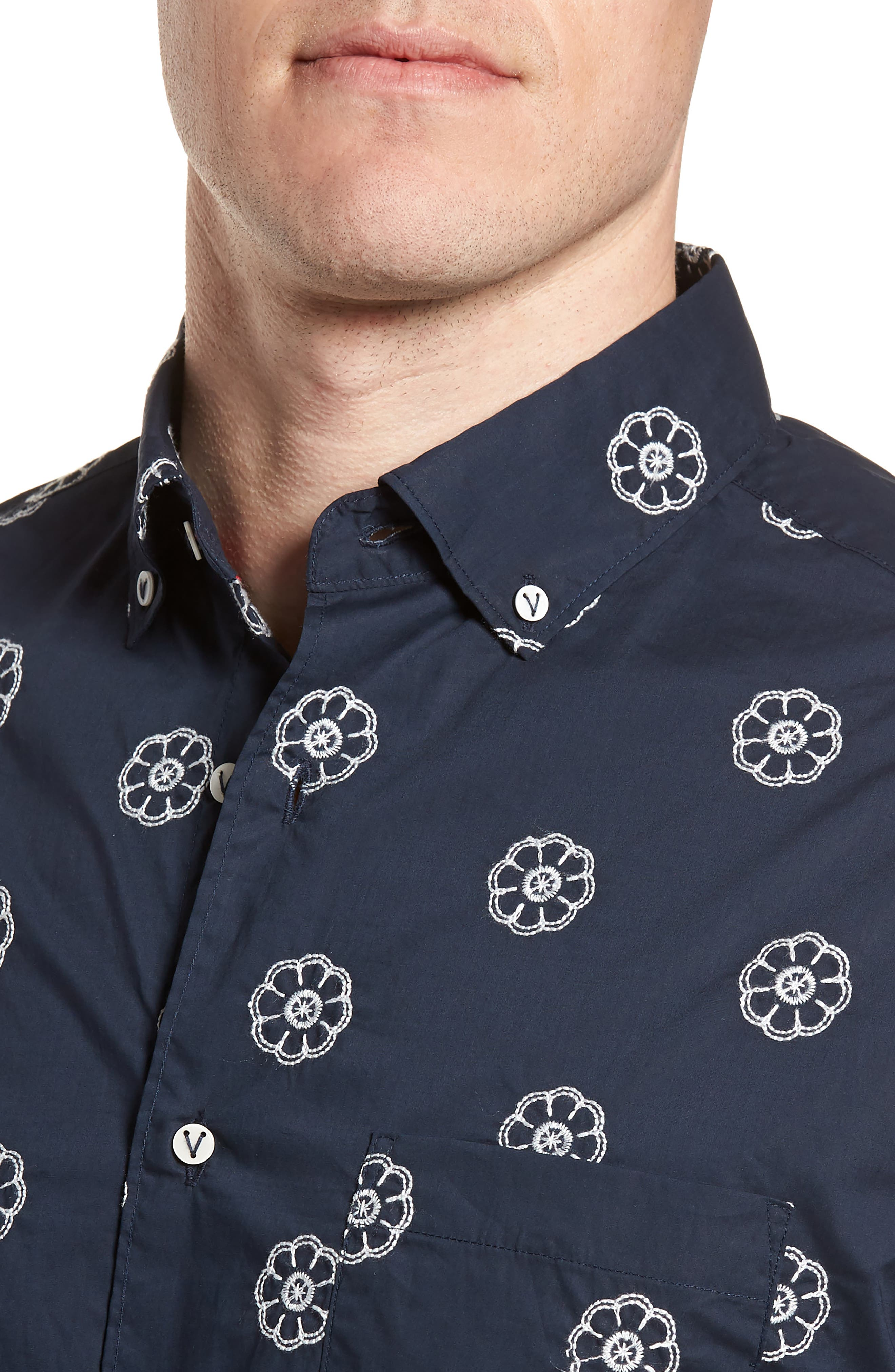 Embroidered Floral Poplin Shirt,                             Alternate thumbnail 2, color,                             Squid Ink W/ Canvas