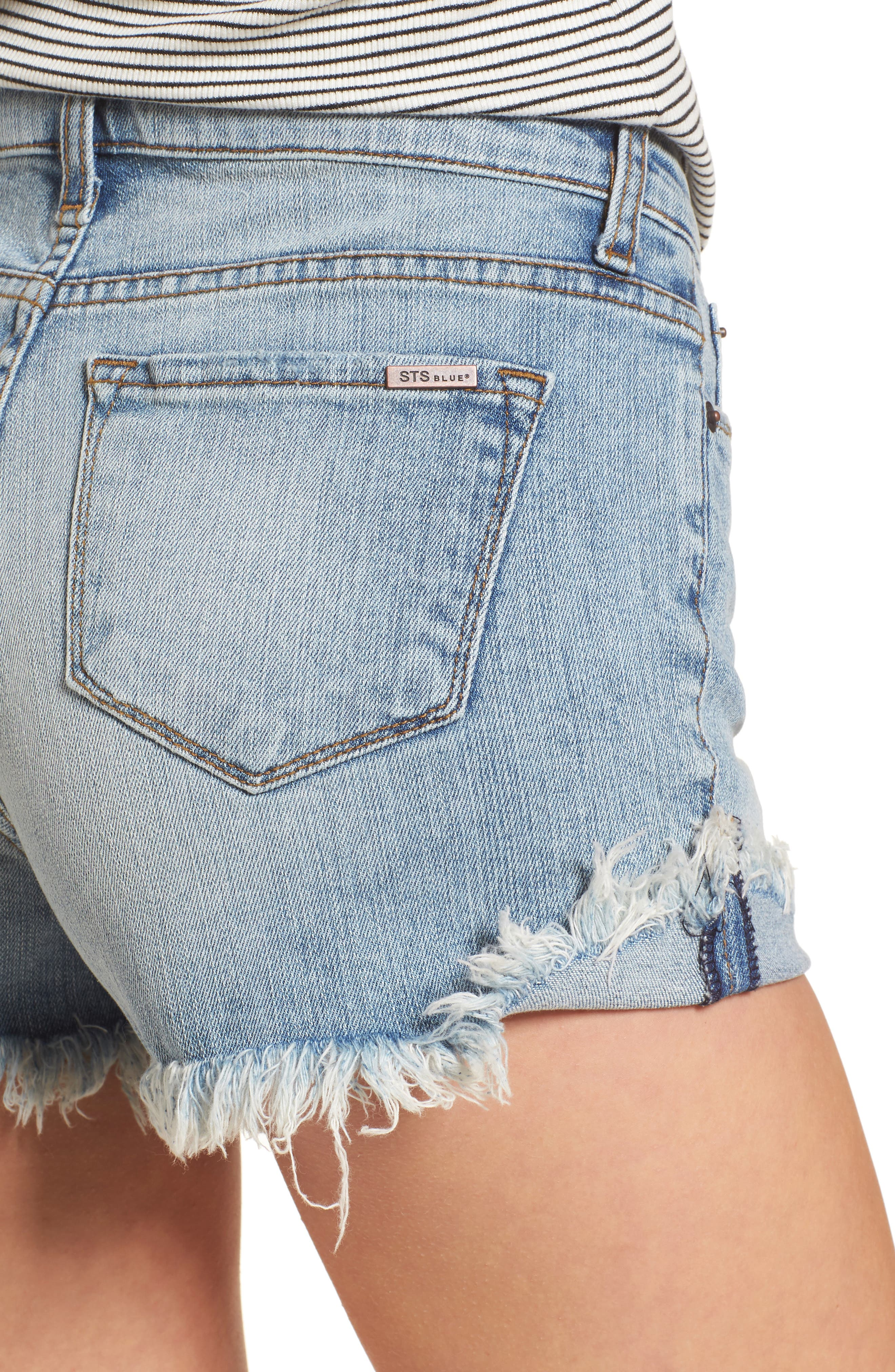 Fray Hem Denim Boyfriend Shorts,                             Alternate thumbnail 4, color,                             Oakrim