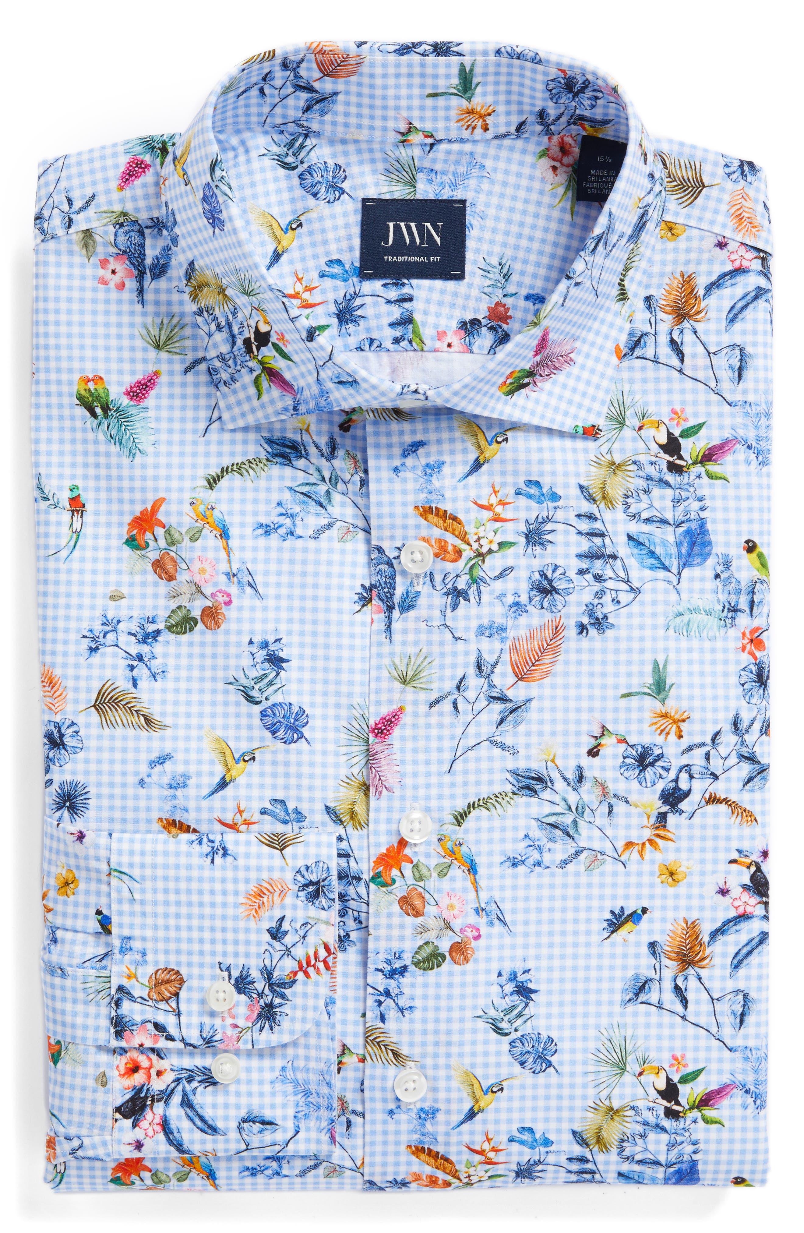 Trim Fit Floral Dress Shirt,                             Alternate thumbnail 6, color,                             Blue Cornflower