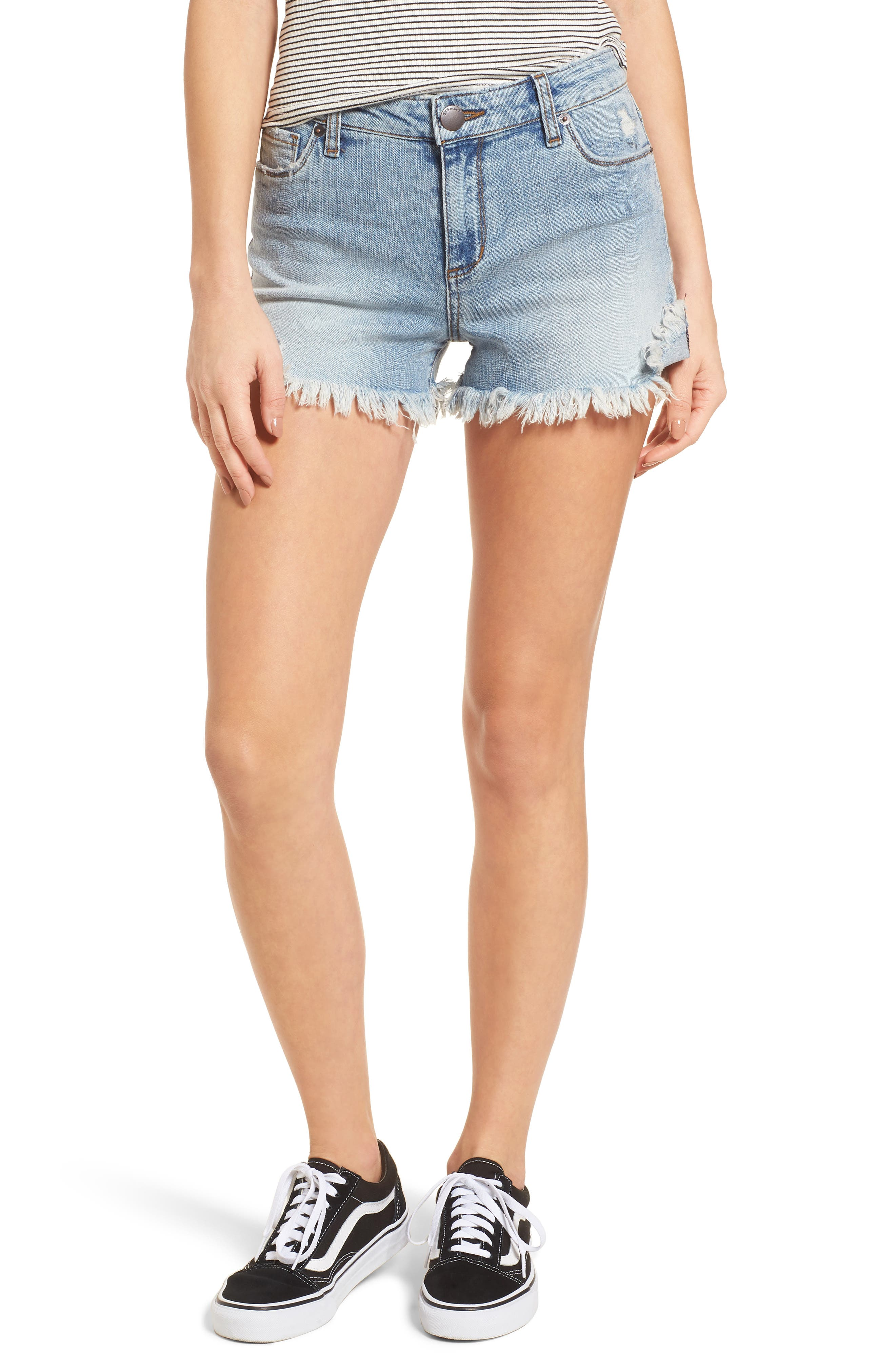 Fray Hem Denim Boyfriend Shorts,                             Main thumbnail 1, color,                             Oakrim