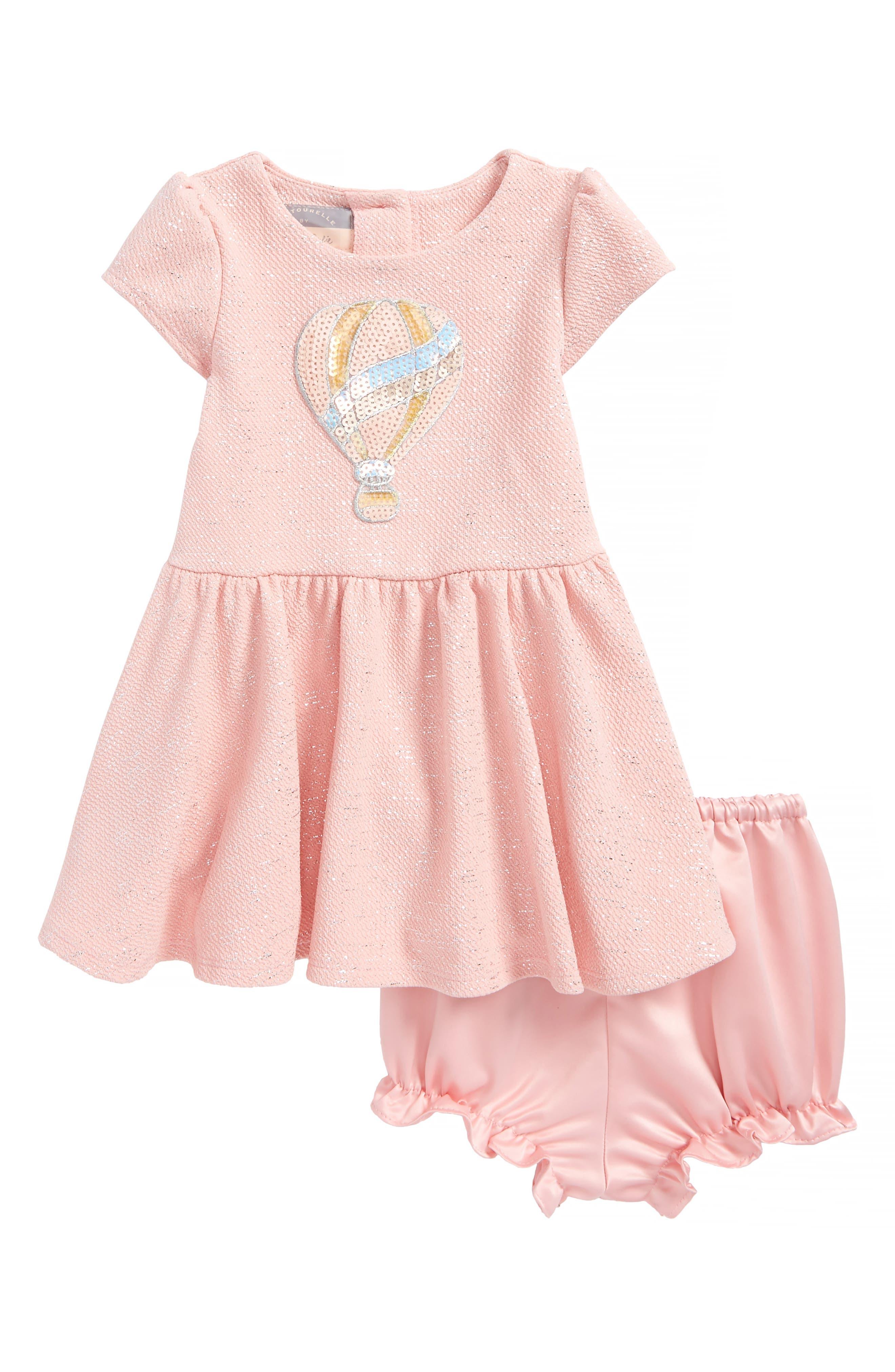 Sequin Balloon Skater Dress,                         Main,                         color, Pink