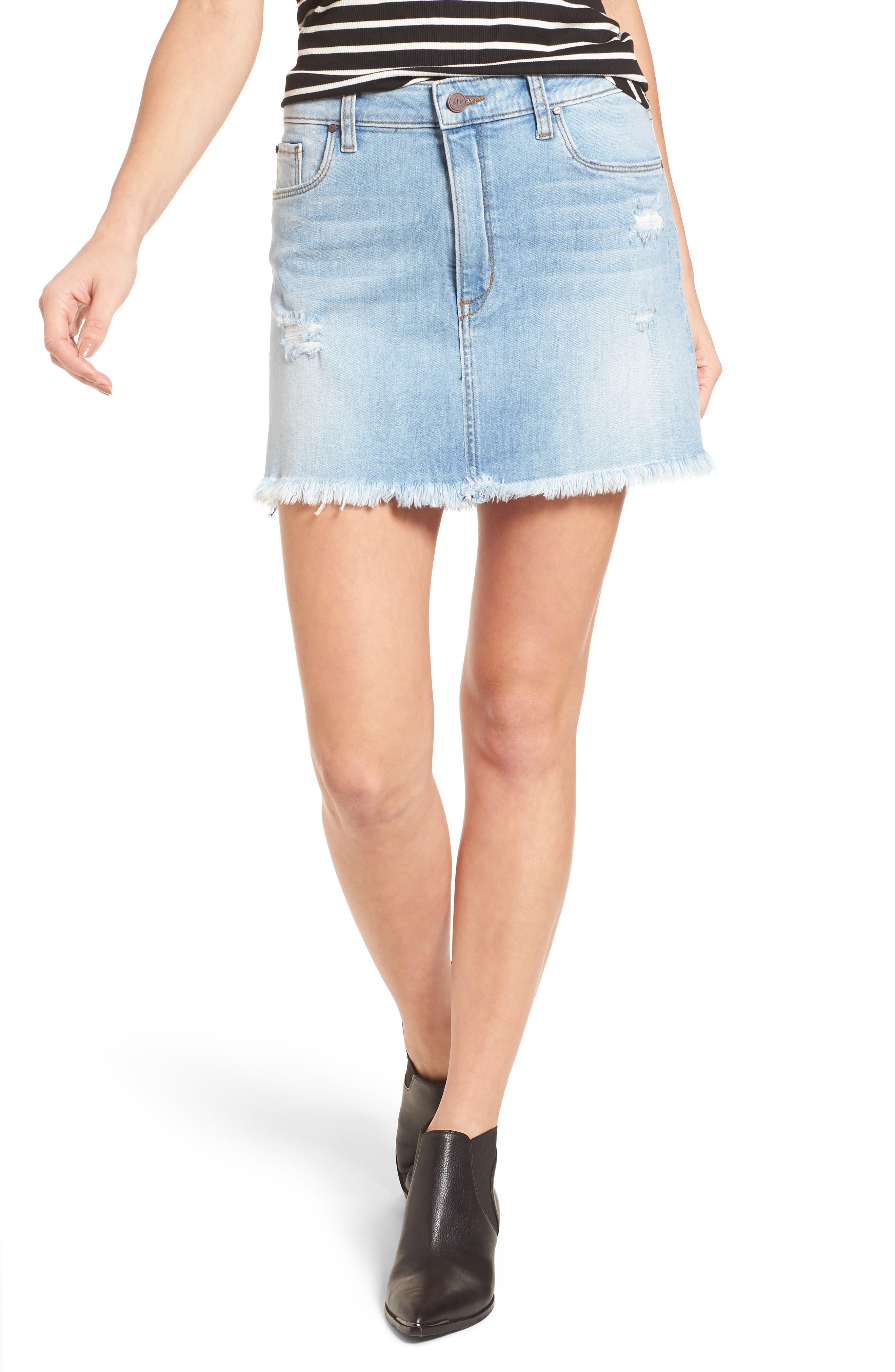 BP. Distressed Denim Miniskirt