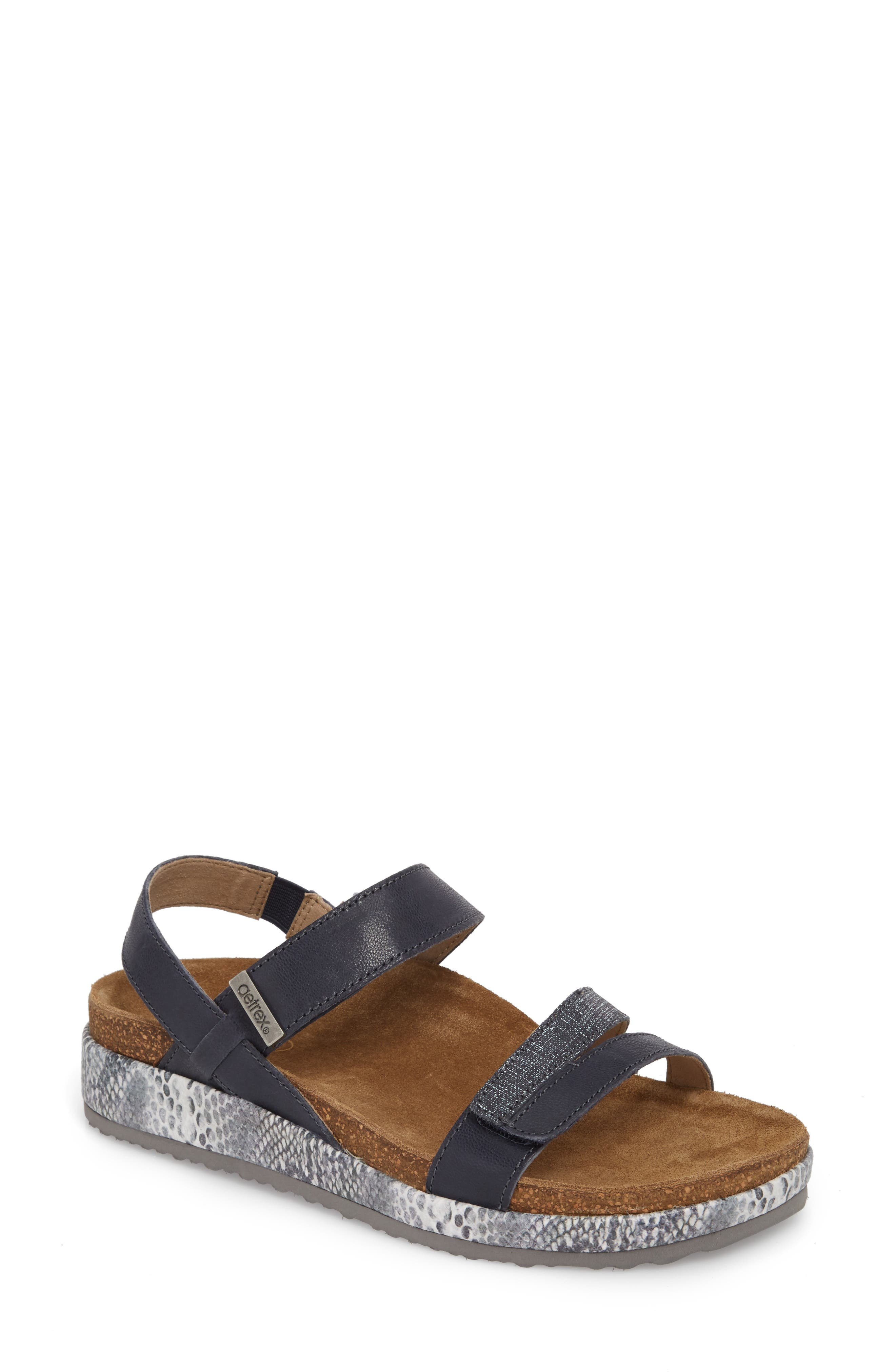 Bethany Sandal,                             Main thumbnail 1, color,                             Navy Multi Leather