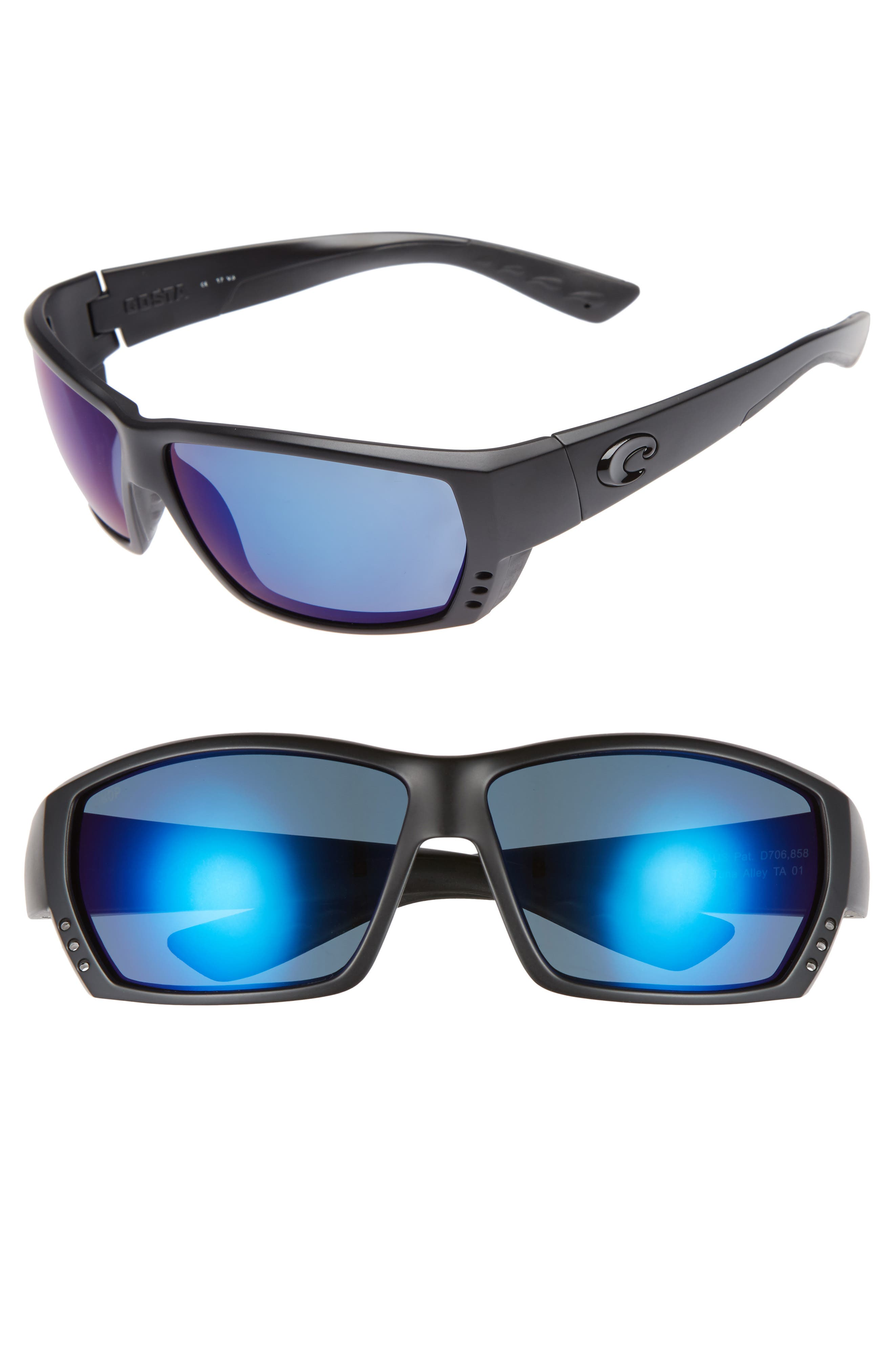 Tuna Alley 60mm Polarized Sunglasses,                             Main thumbnail 1, color,                             Blackout/ Blue Mirror