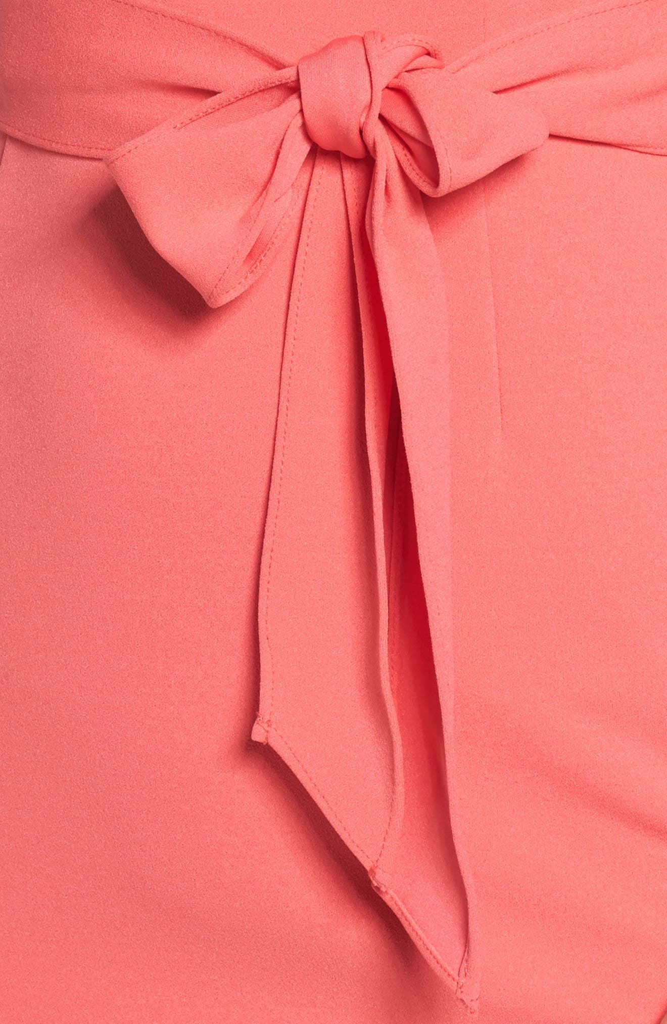 Roll Neck Crepe Dress,                             Alternate thumbnail 4, color,                             Strawberry Pink