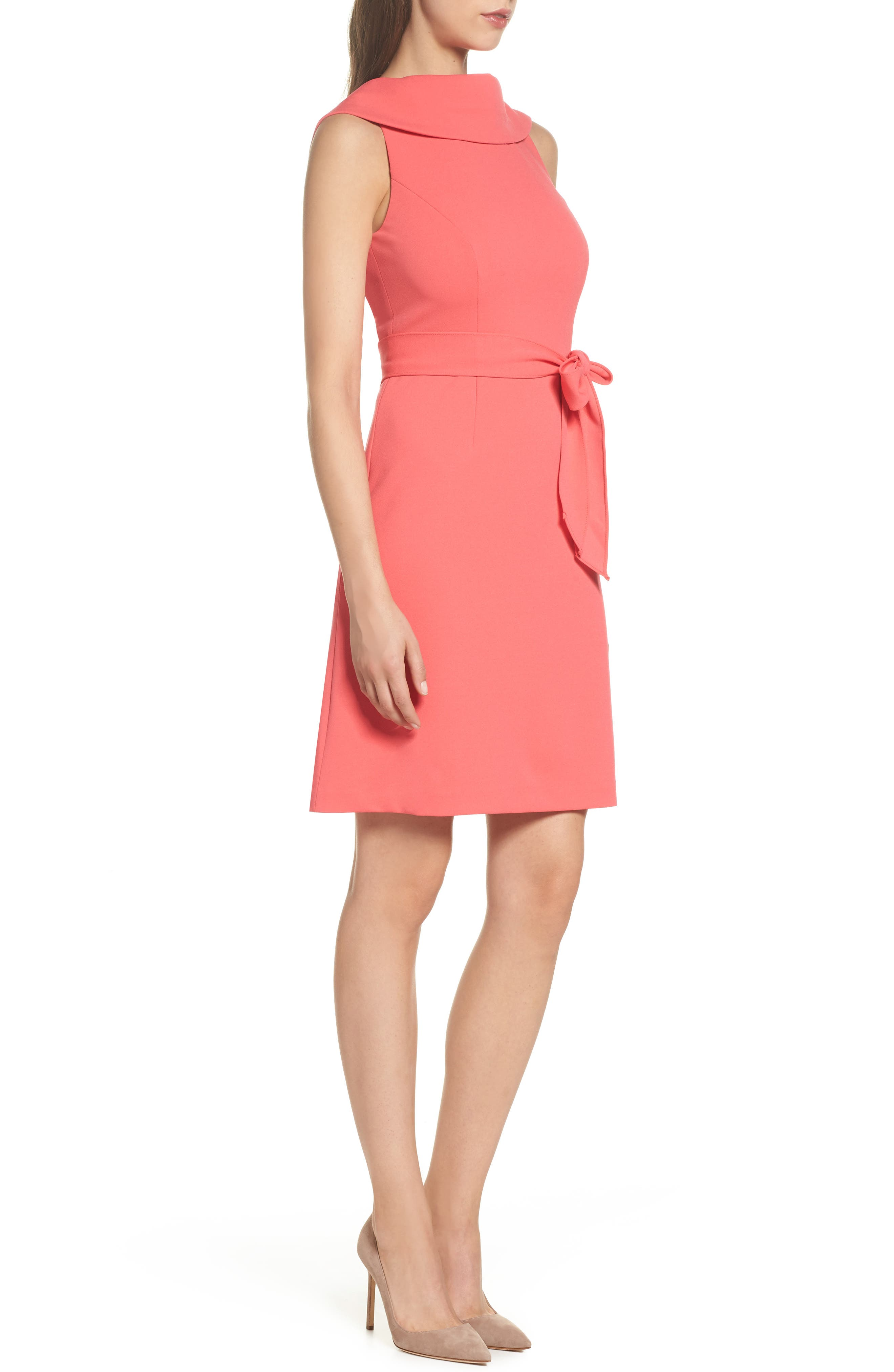 Roll Neck Crepe Dress,                             Alternate thumbnail 3, color,                             Strawberry Pink