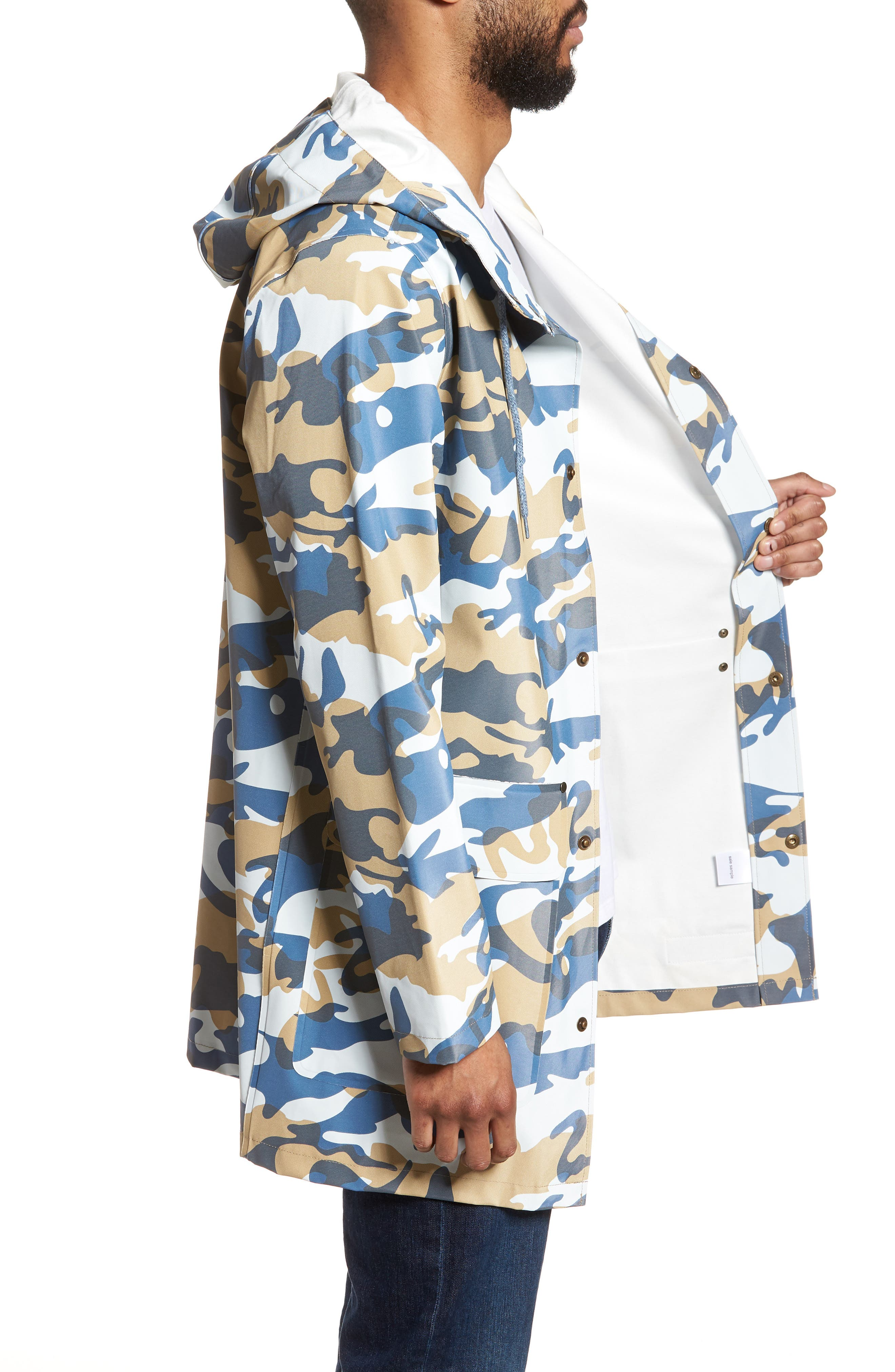 Stockholm Waterproof Hooded Raincoat,                             Alternate thumbnail 3, color,                             Camo