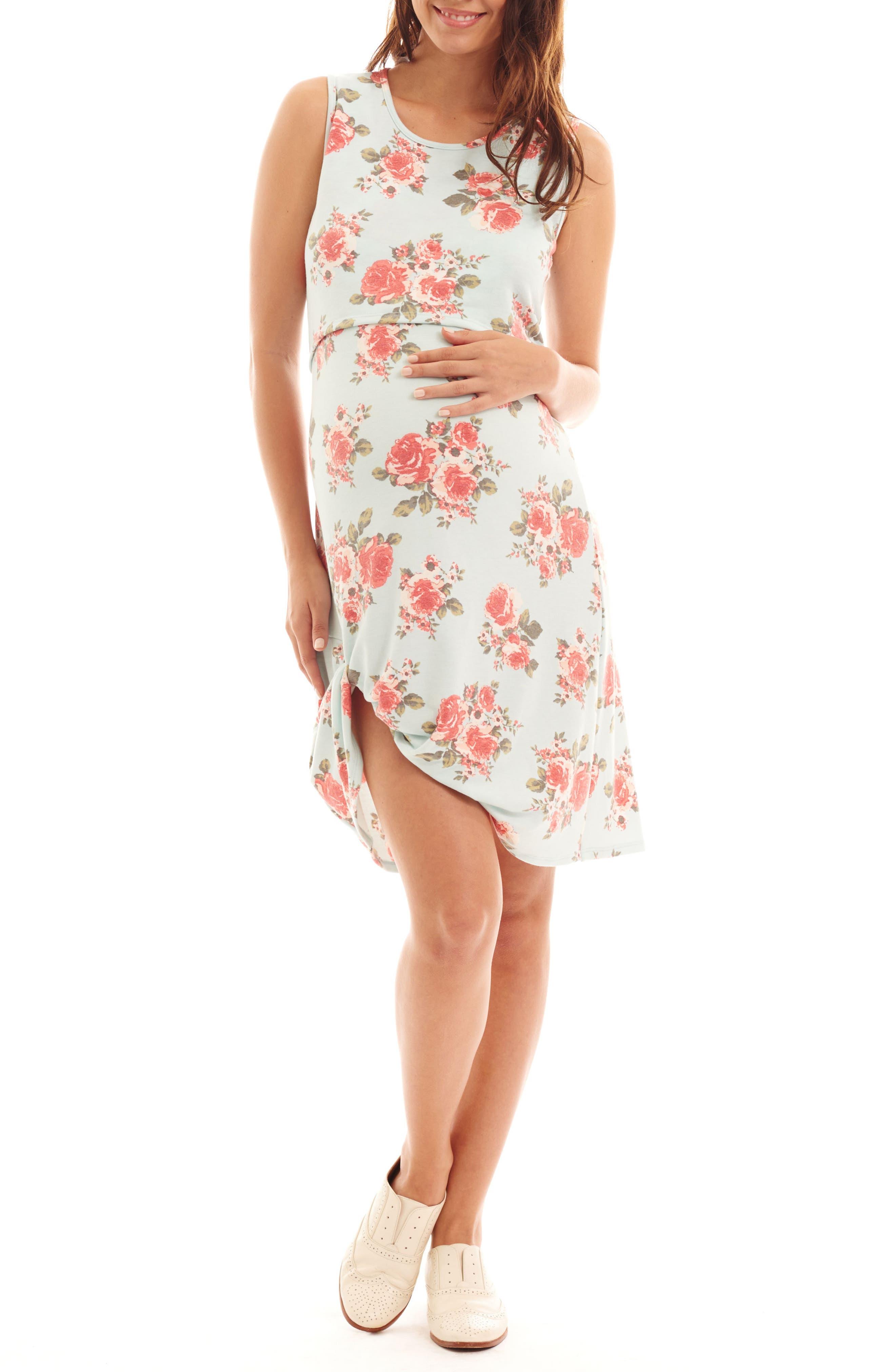 Marta Floral Maternity/Nursing Dress,                         Main,                         color, Aqua