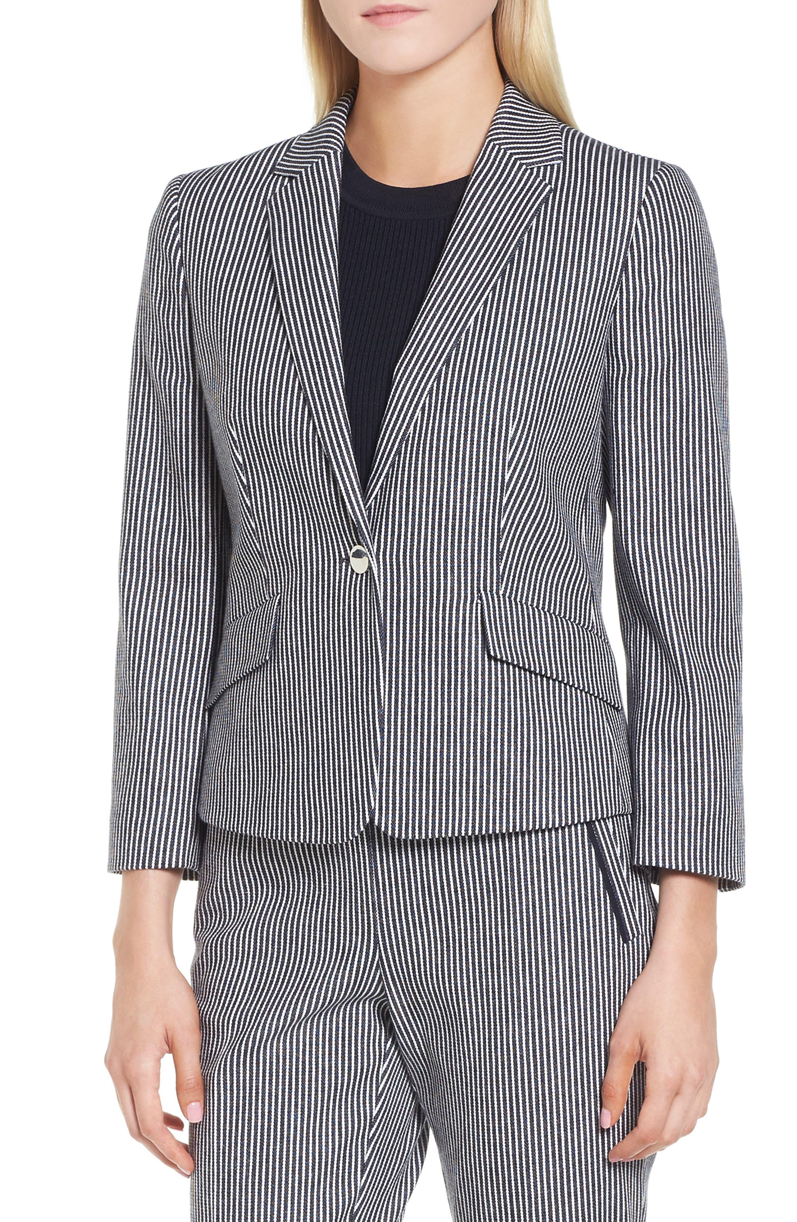 Katemika Stripe Stretch Cotton Suit Jacket,                         Main,                         color, Navy Fantasy