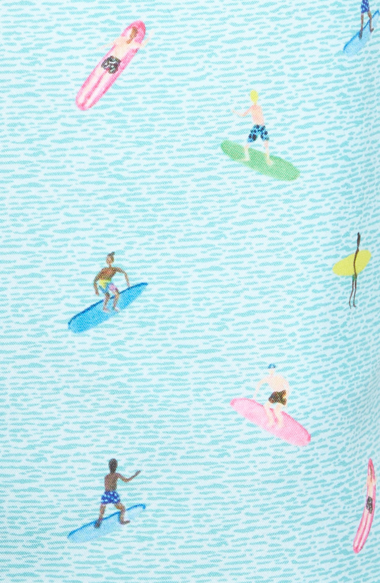 Sayulita Print Swim Shorts,                             Alternate thumbnail 5, color,                             Aqua Green