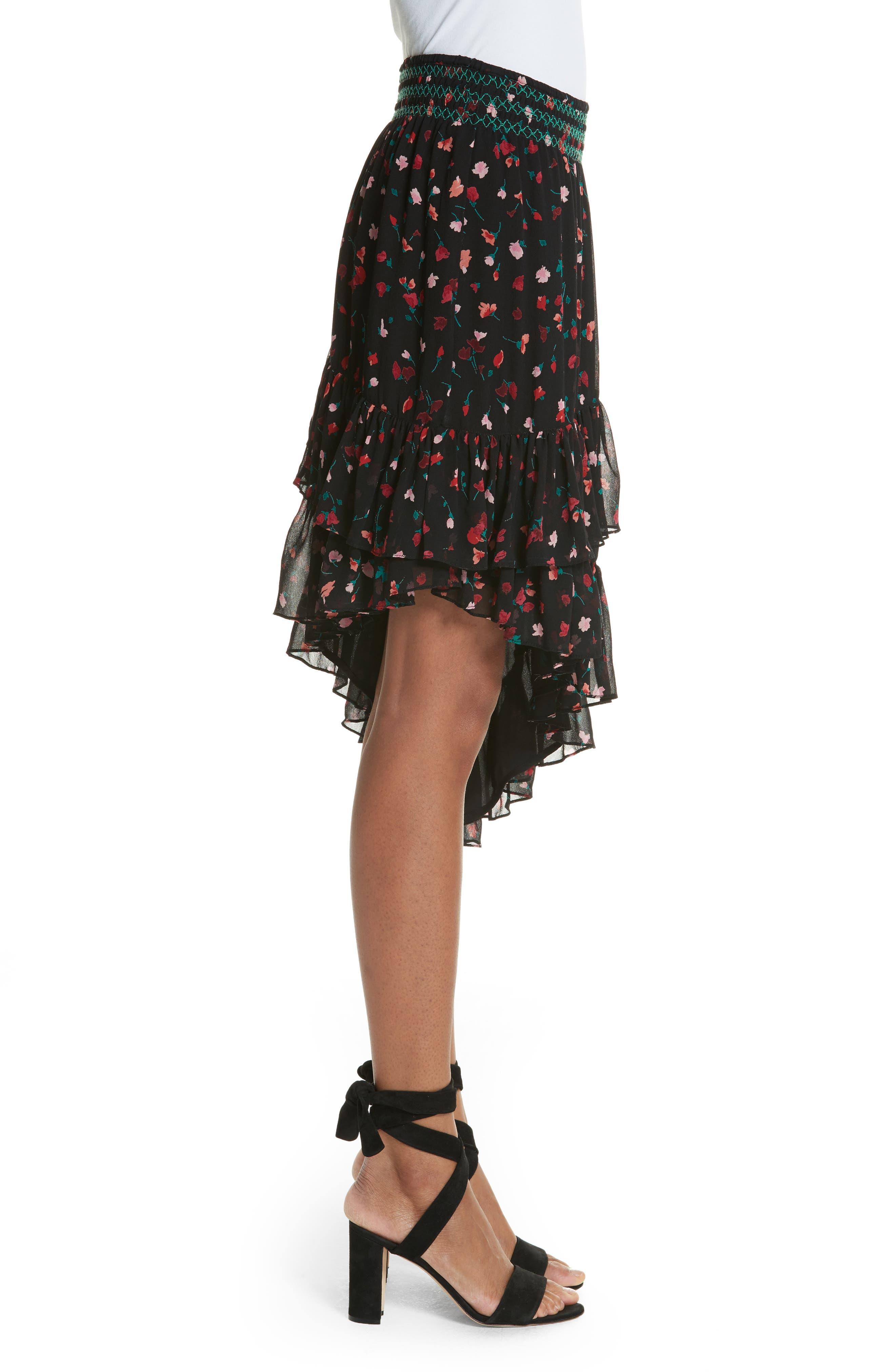 Gorowen Floral Silk Skirt,                             Alternate thumbnail 3, color,                             Caviar