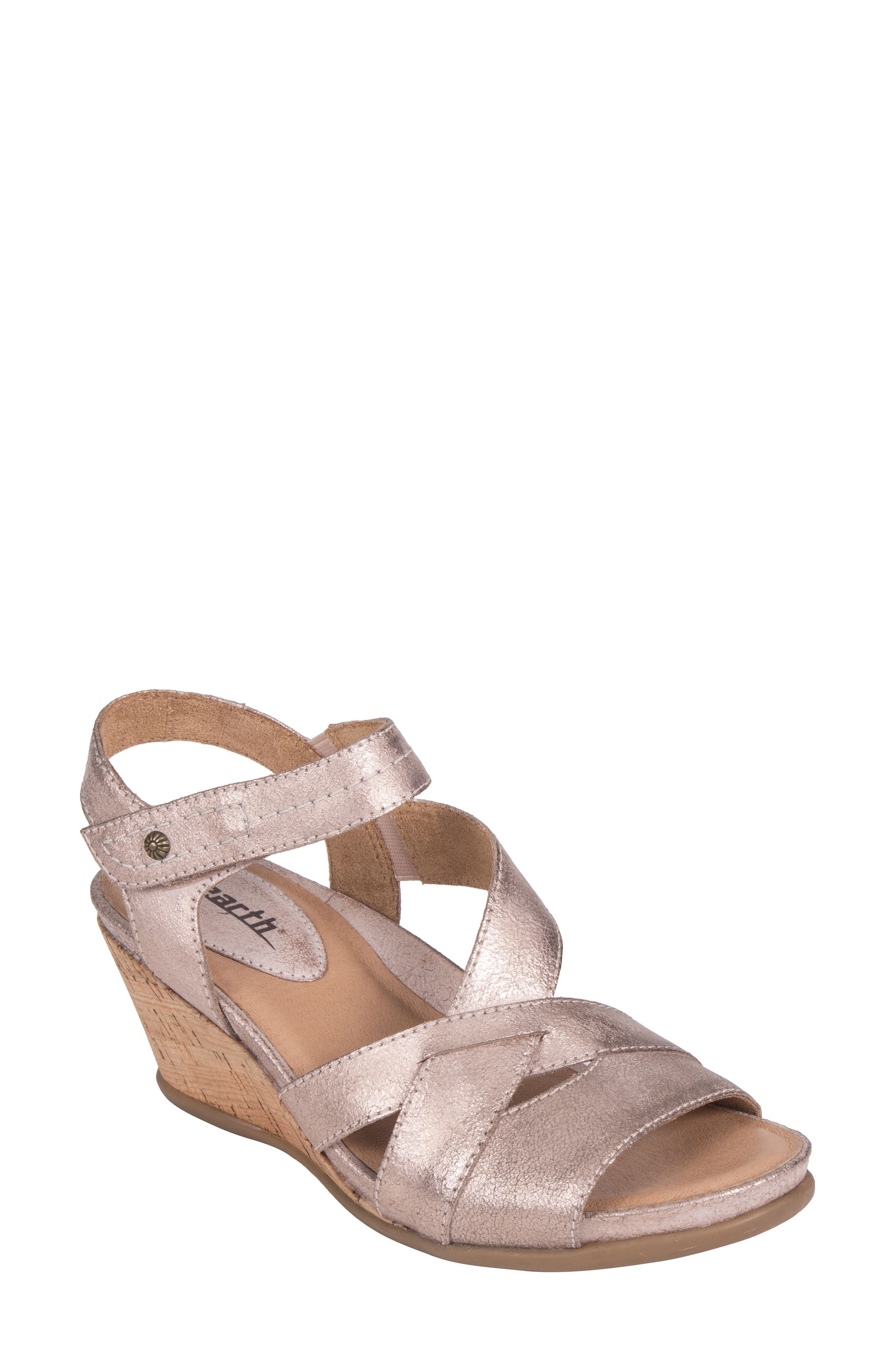 Thistle Wedge Sandal,                             Main thumbnail 1, color,                             Pink Leather