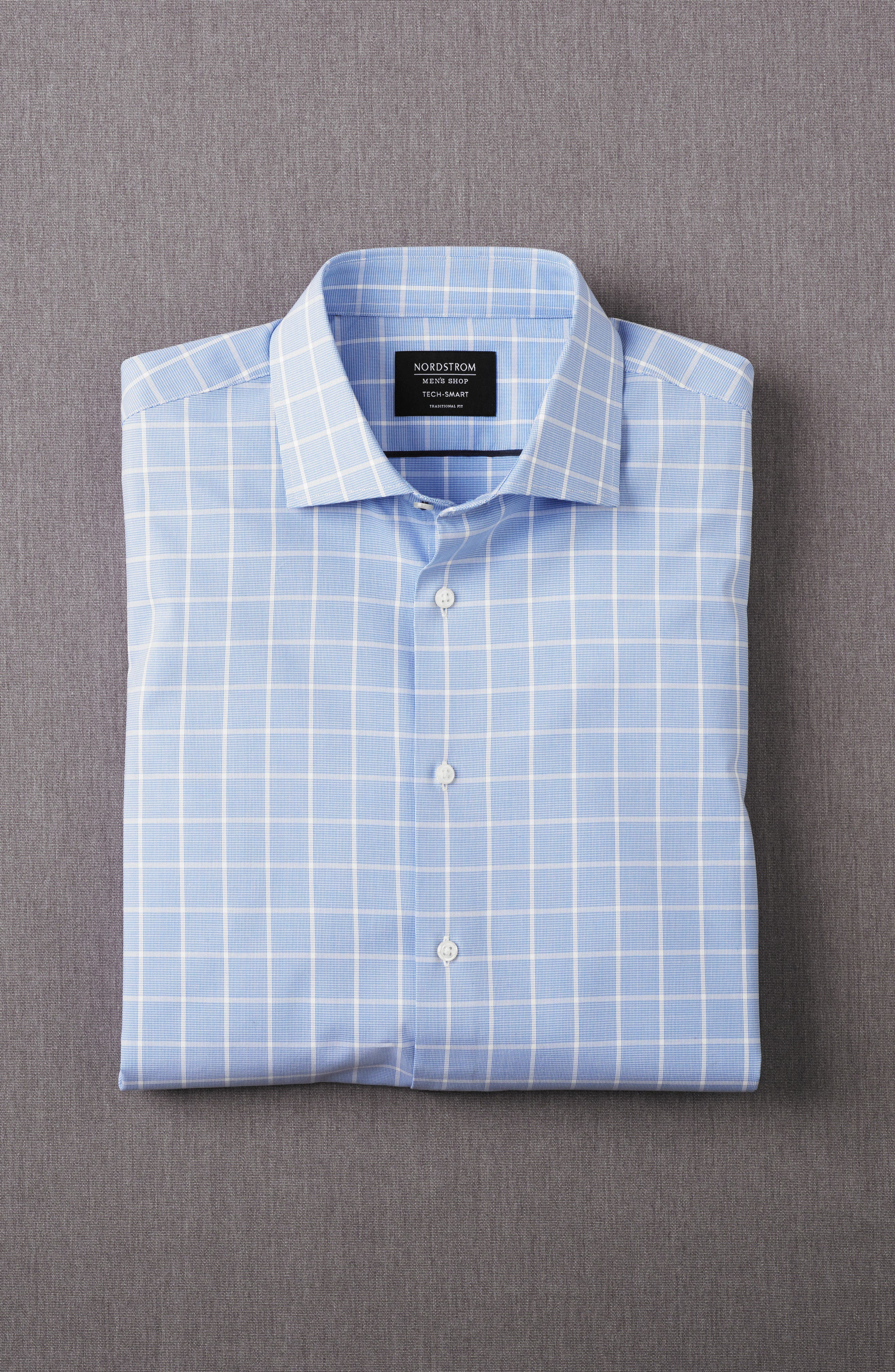 Tech-Smart Traditional Fit Stretch Windowpane Dress Shirt,                             Alternate thumbnail 2, color,