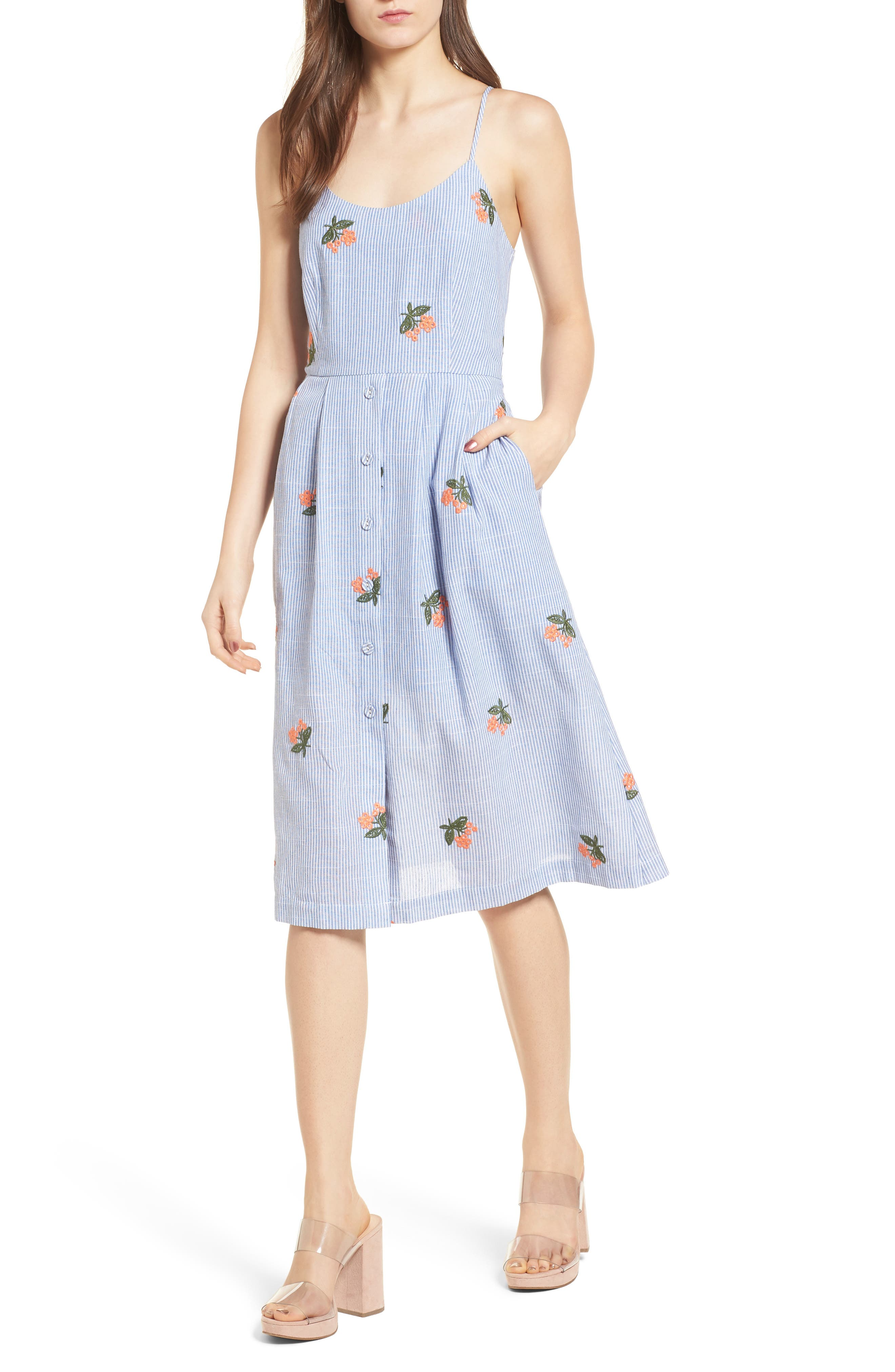 Embroidered Midi Dress,                         Main,                         color, Embroidered Blue Stripe